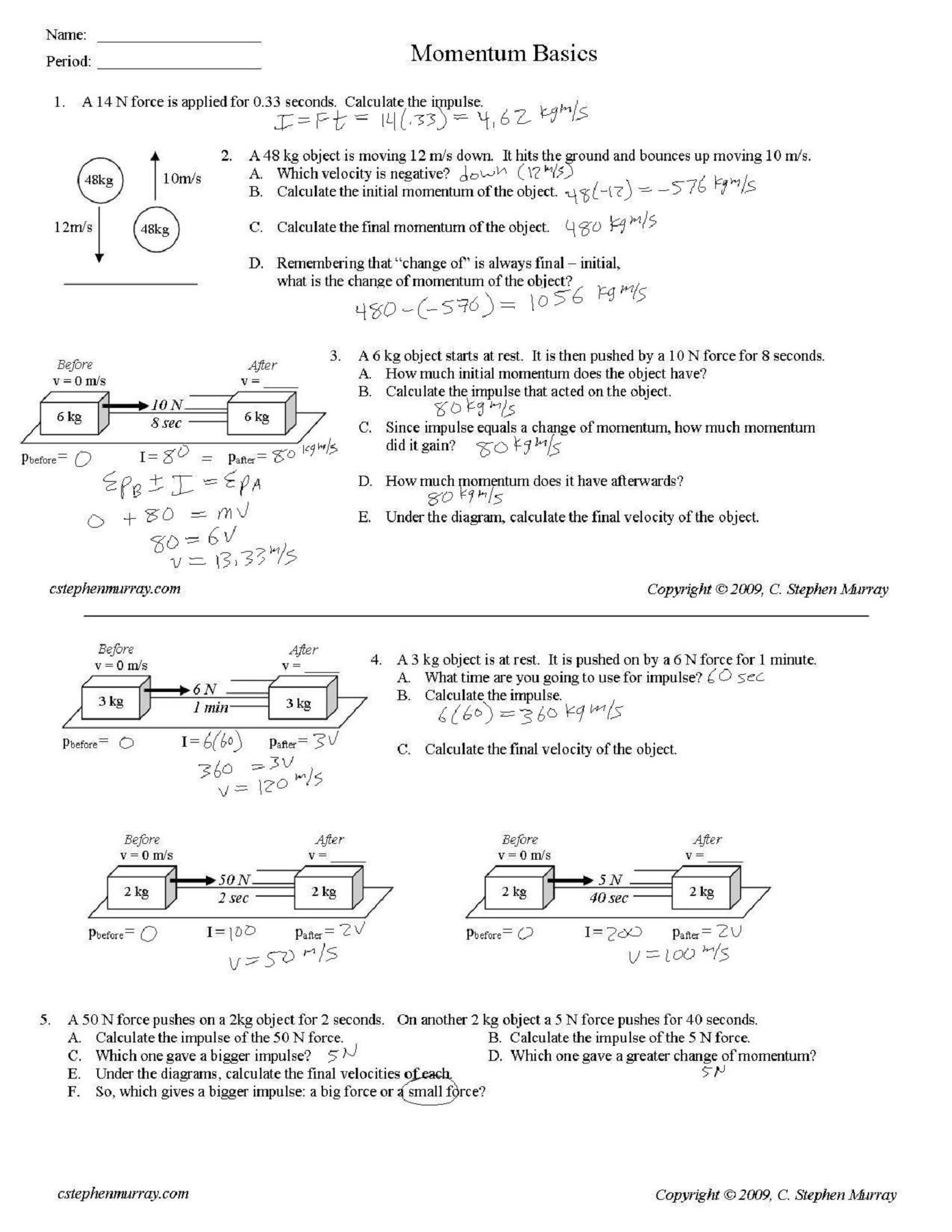 30 Momentum Worksheet Answer Key