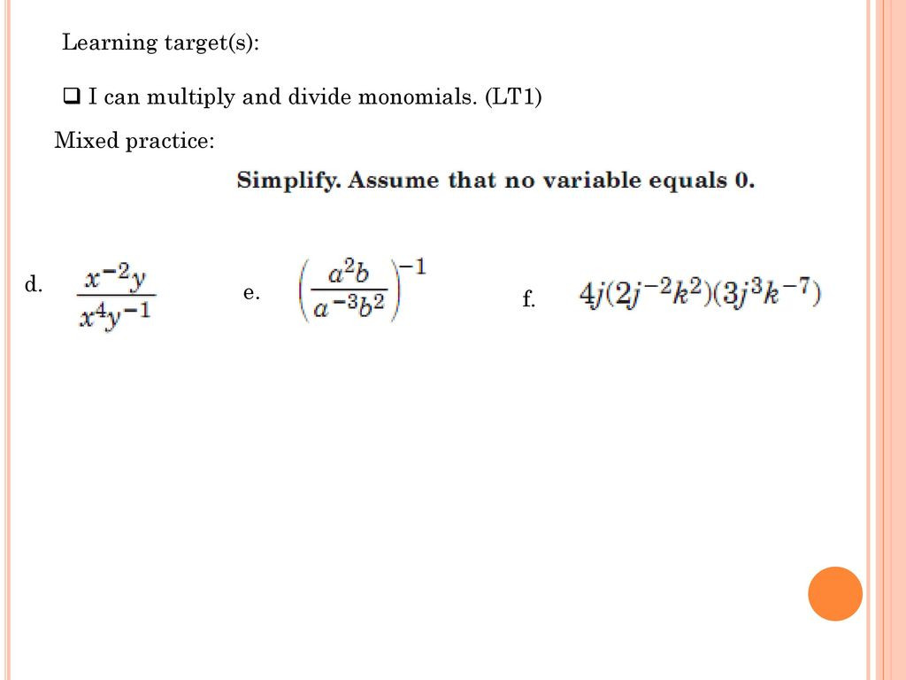 30 Multiplying And Dividing Monomials Worksheet