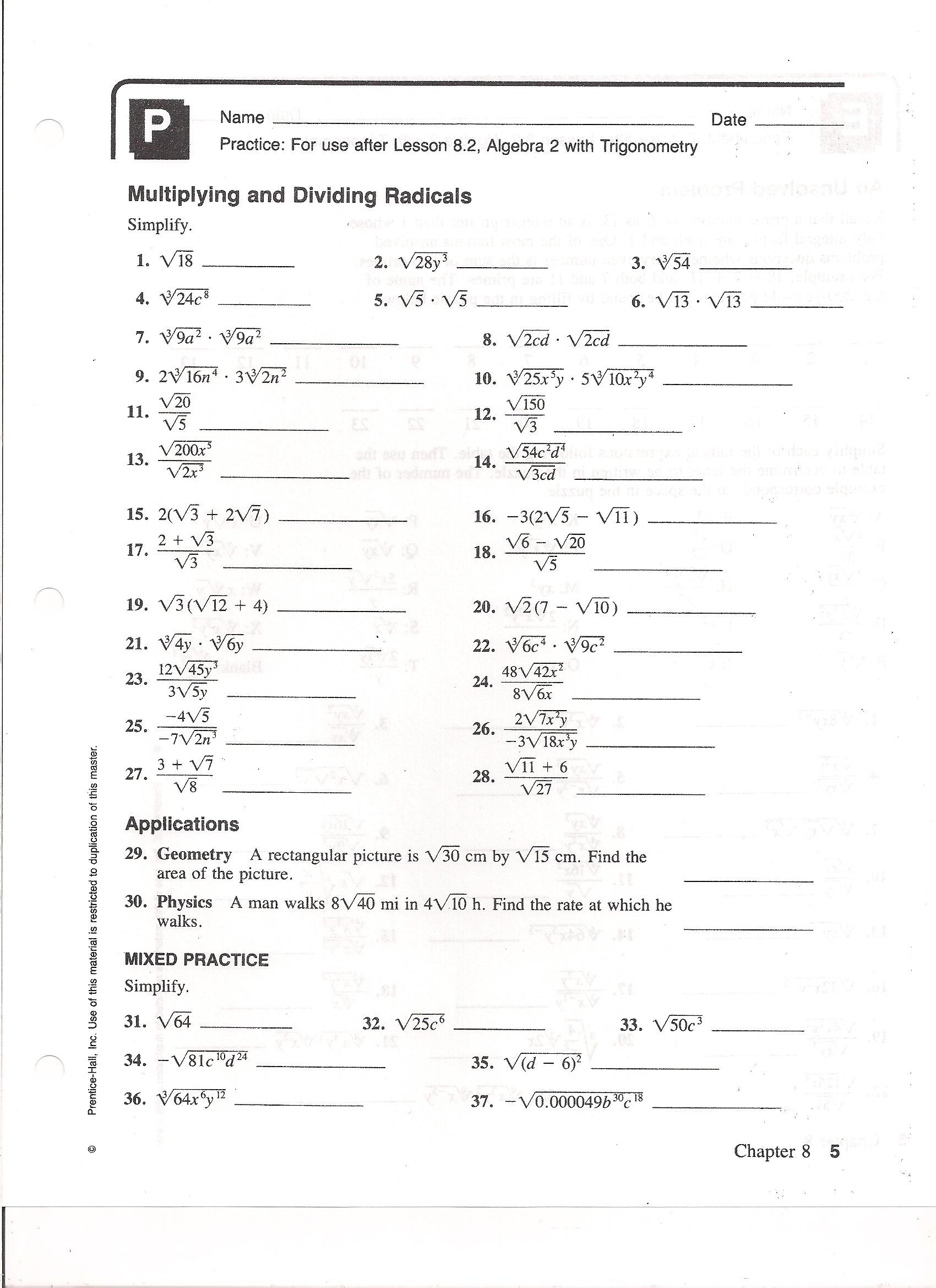 30 Multiplying Radical Expressions Worksheet