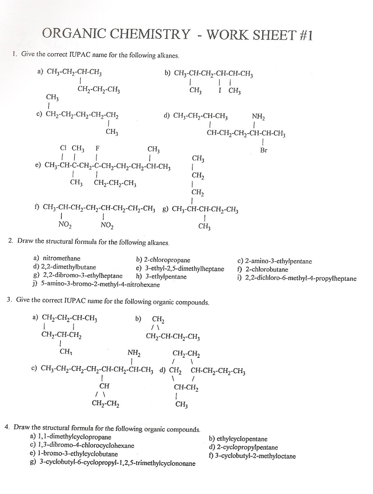 30 Organic Compounds Worksheet Answers