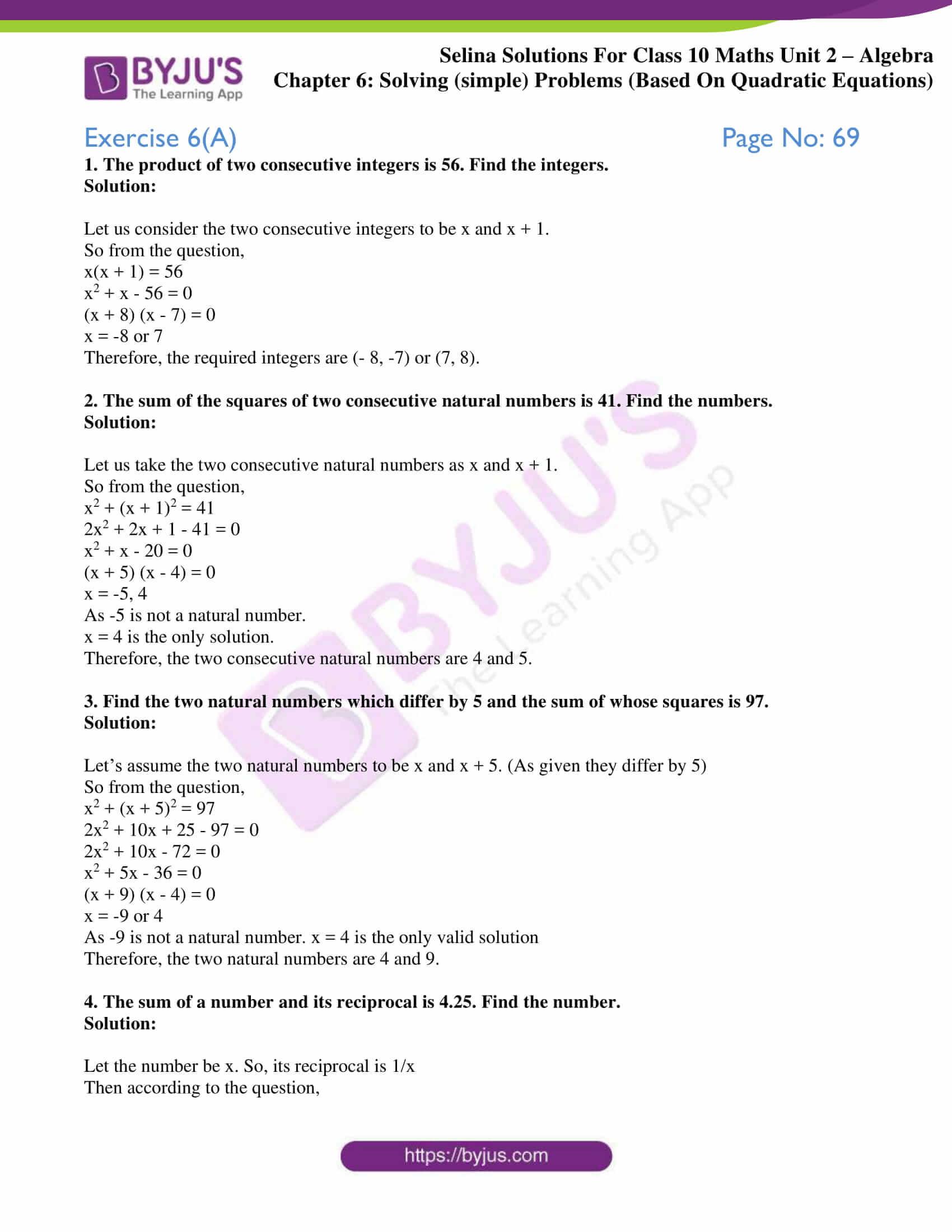 Quadratic Equations Word Problems Worksheet Education