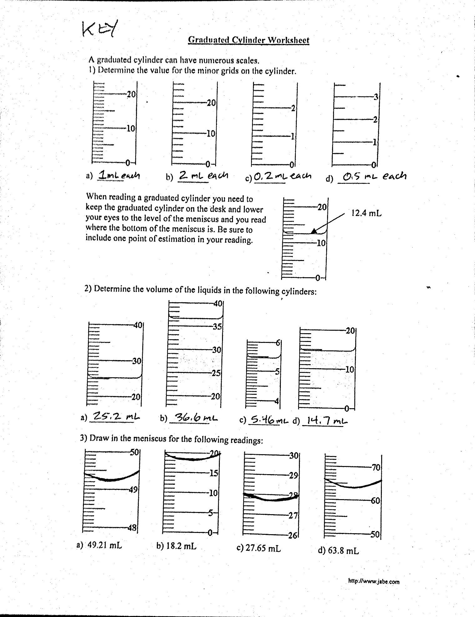 30 Reading Graduated Cylinders Worksheet