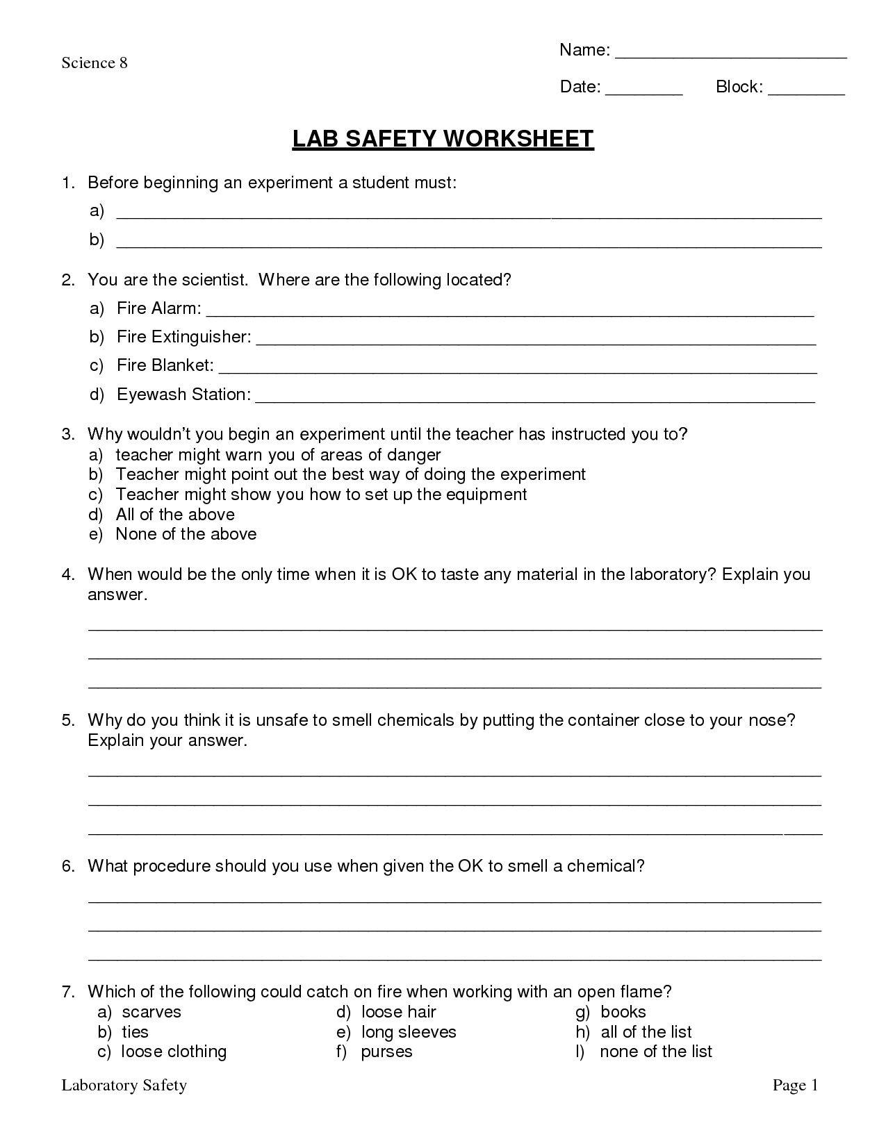 Science Lab Safety Worksheet