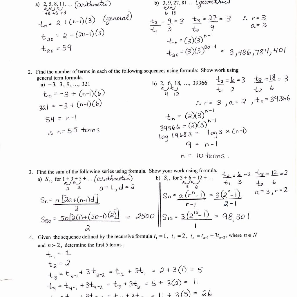 30 Sequences And Series Worksheet