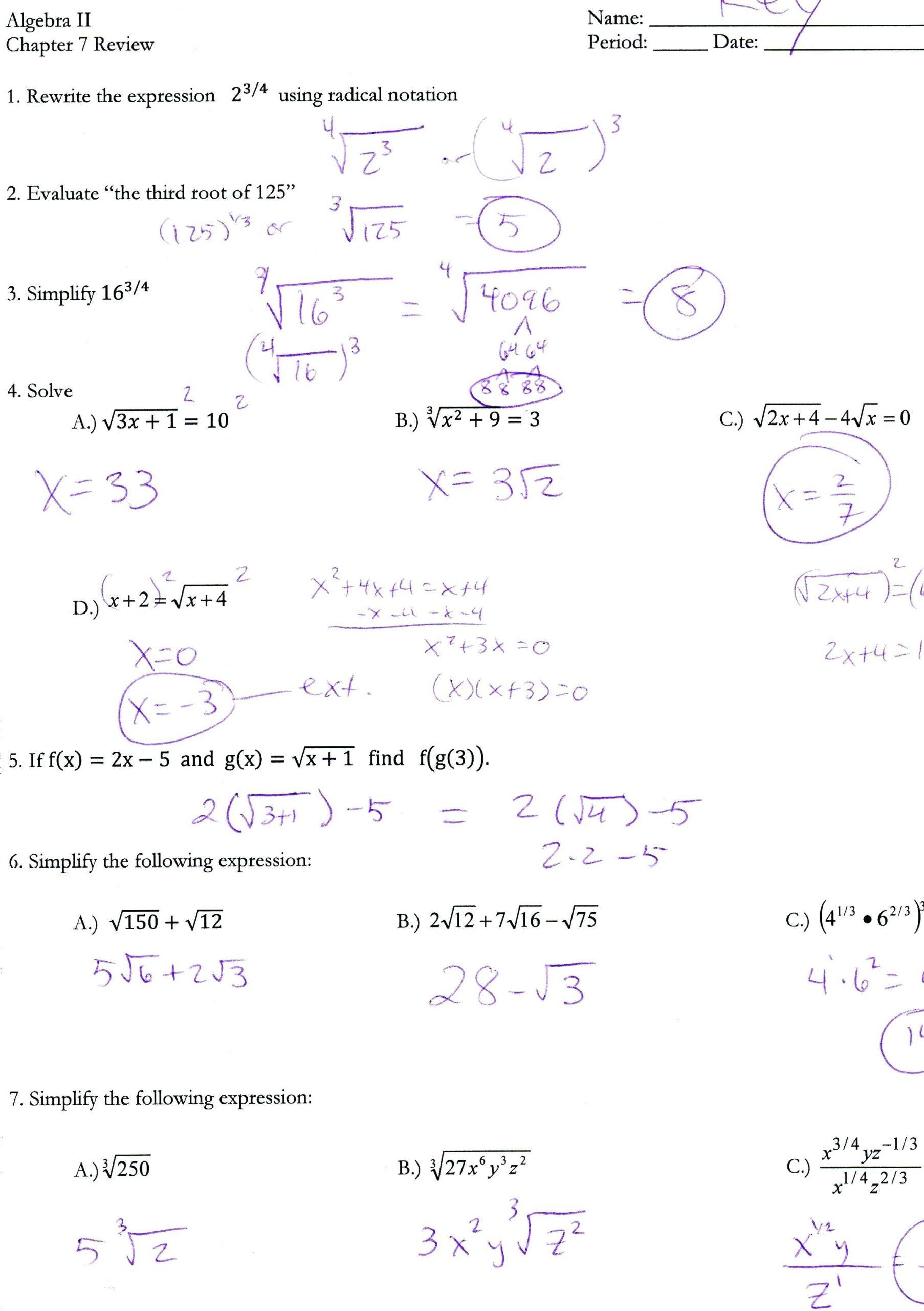 30 Simplifying Radicals Worksheet Algebra 2