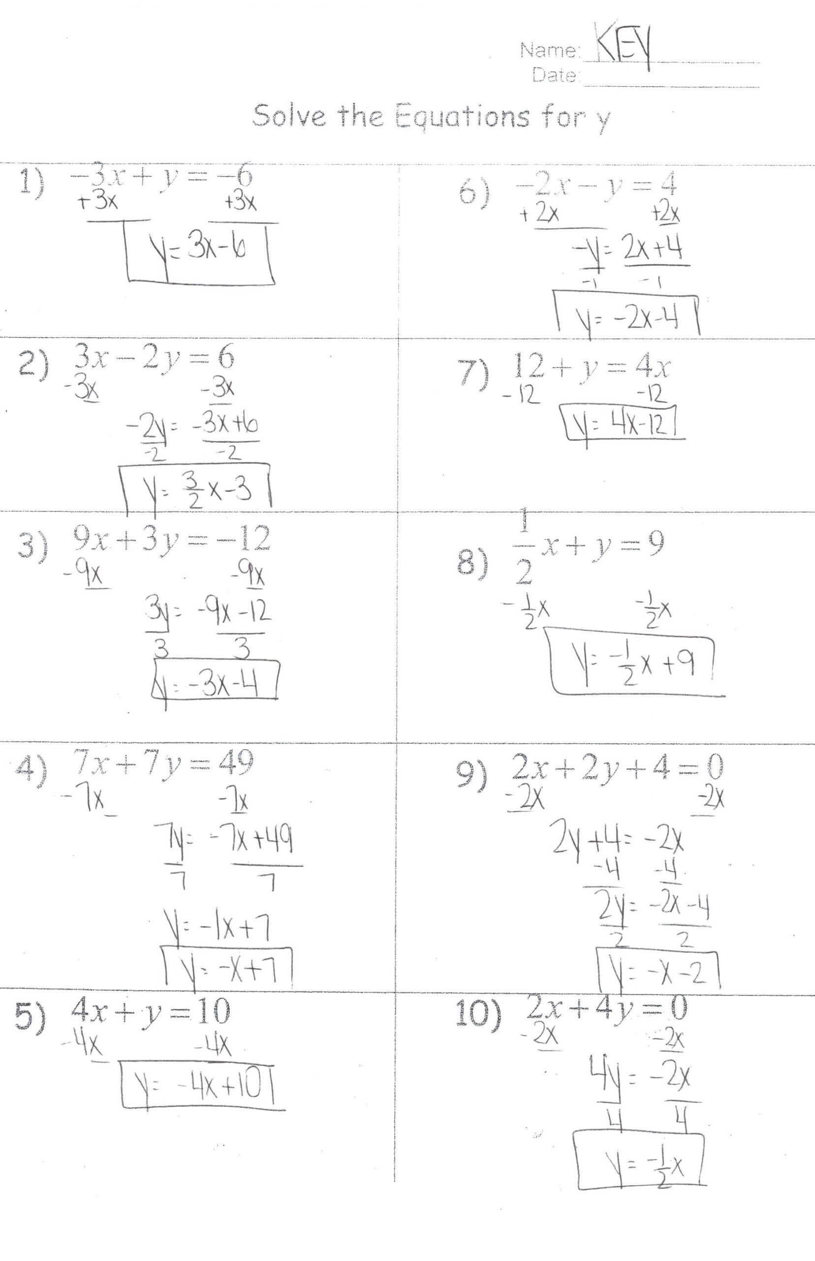 Solving Inequalities Worksheet Answer Key Education Template