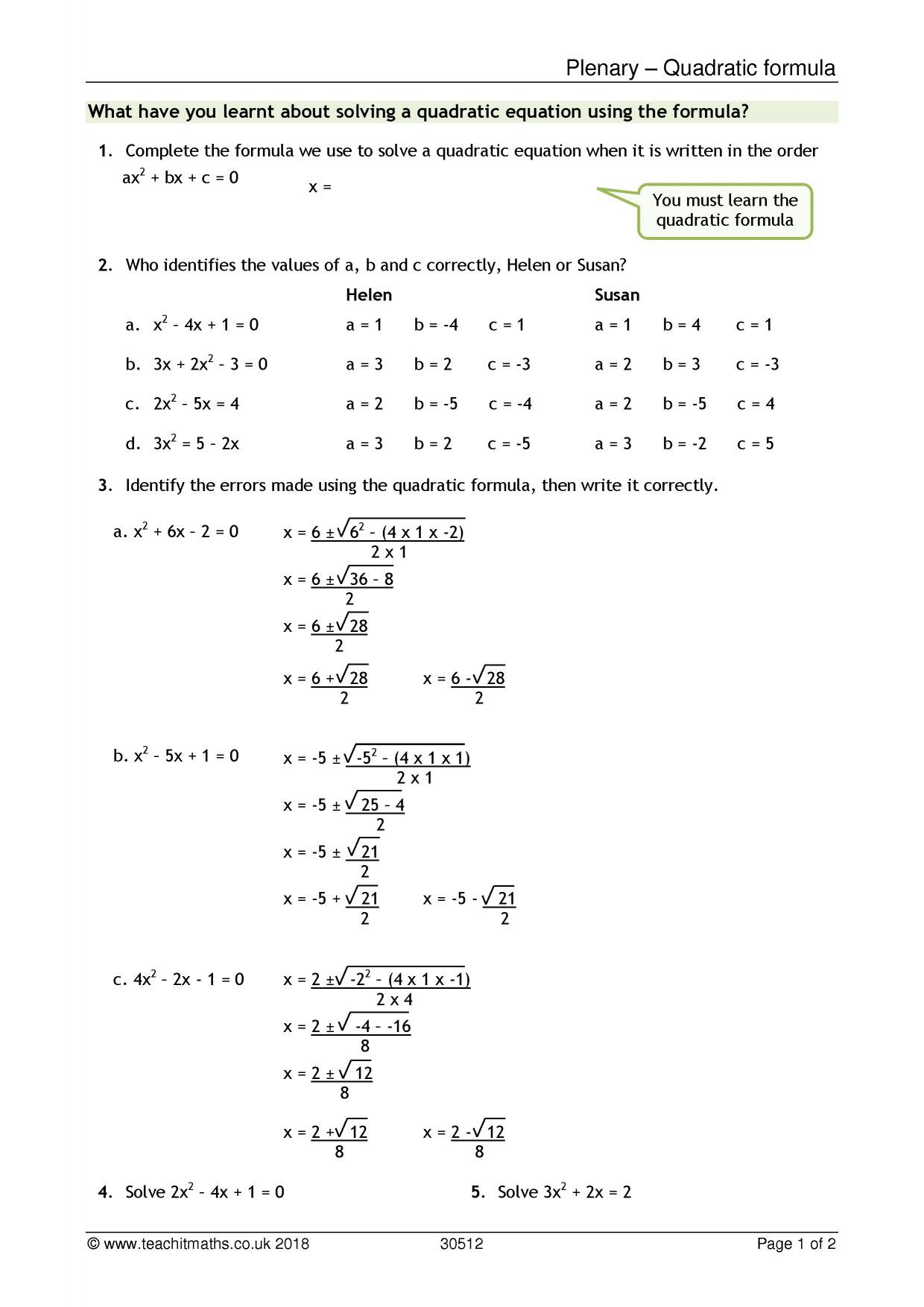 30 The Quadratic Formula Worksheet