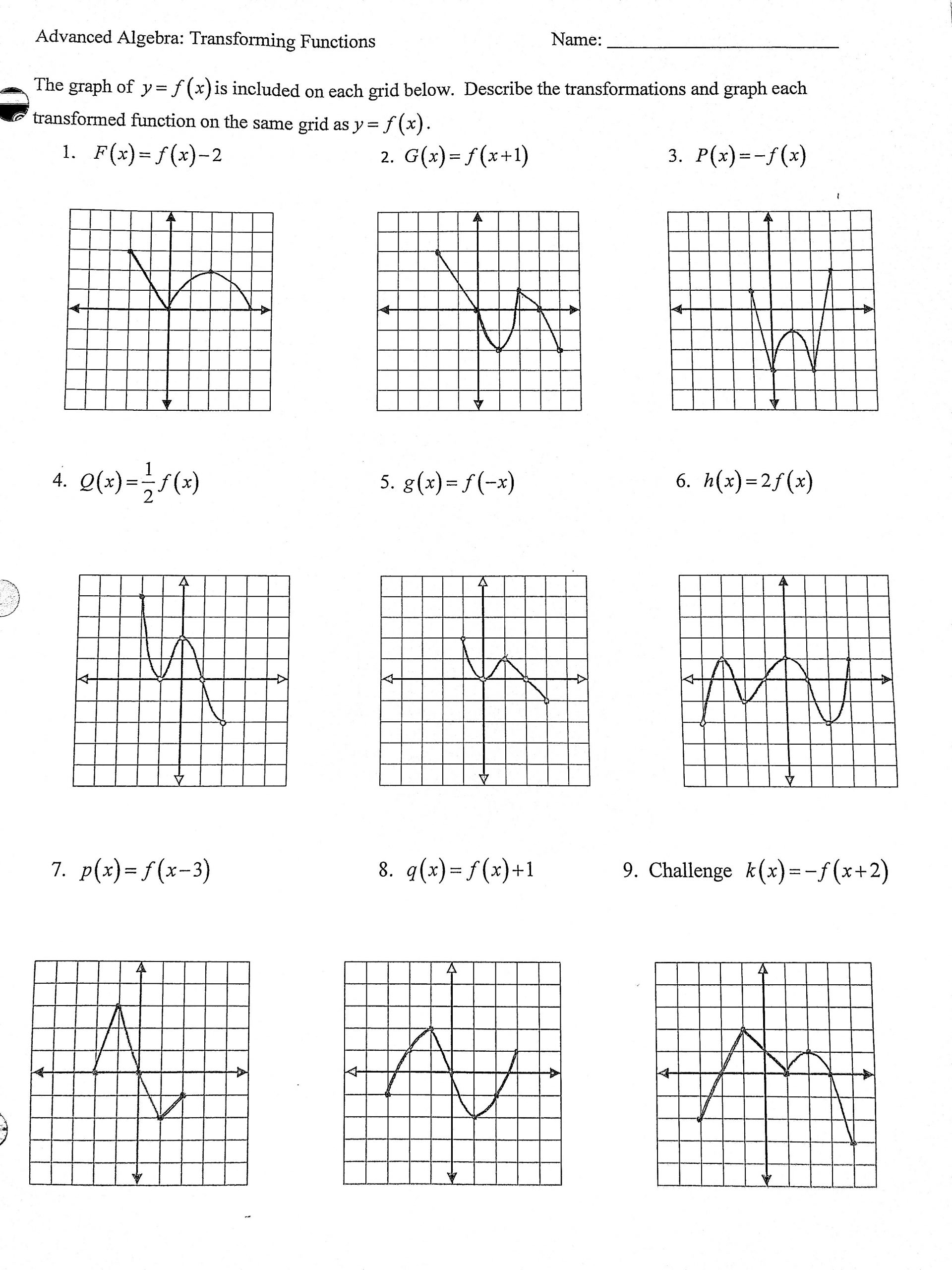 30 Transformations Of Functions Worksheet Answers
