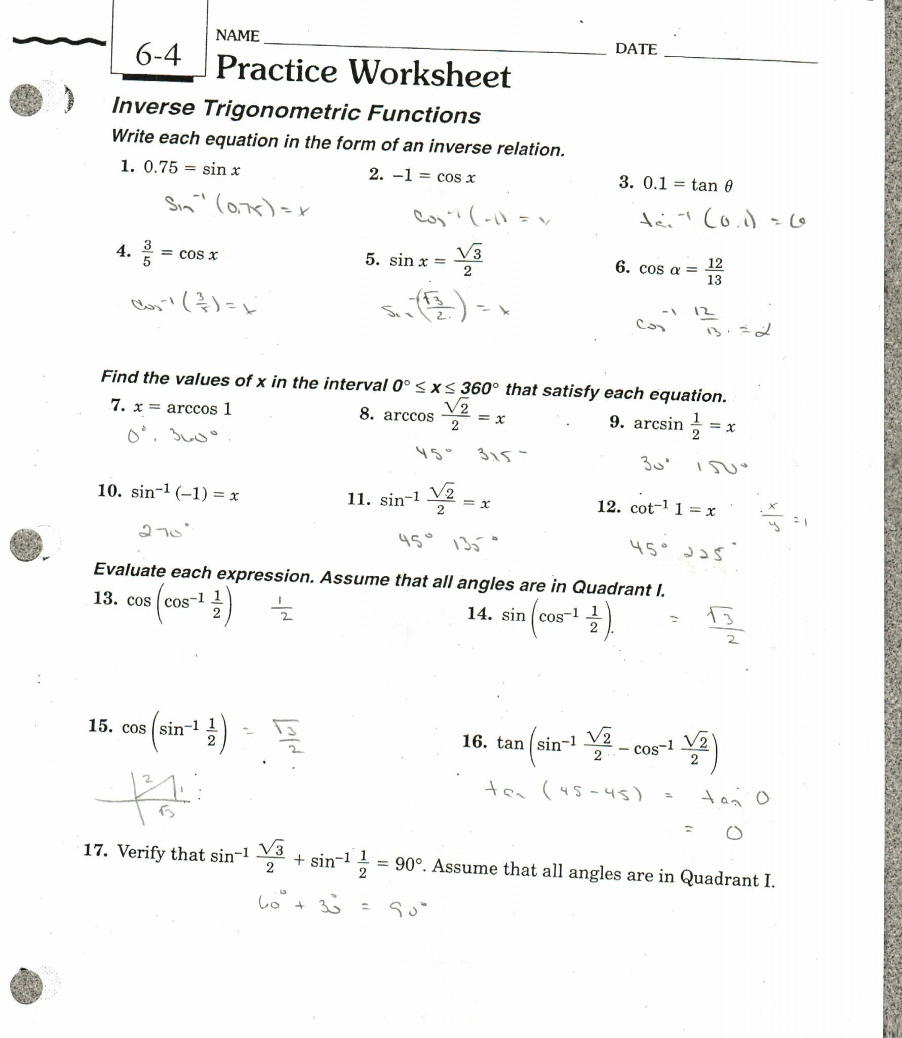 30 Trigonometry Word Problems Worksheet