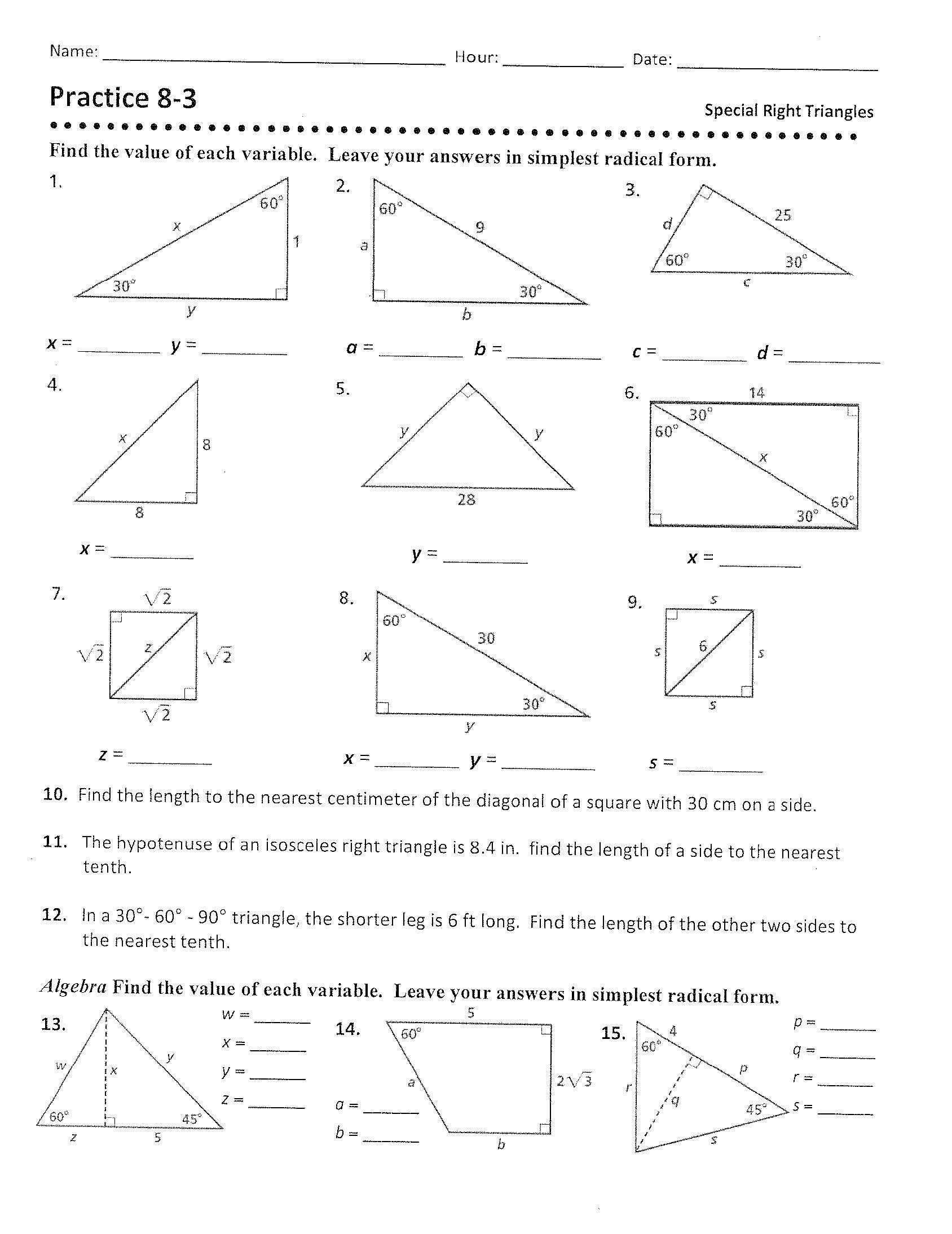 30 30 60 90 Triangles Worksheet
