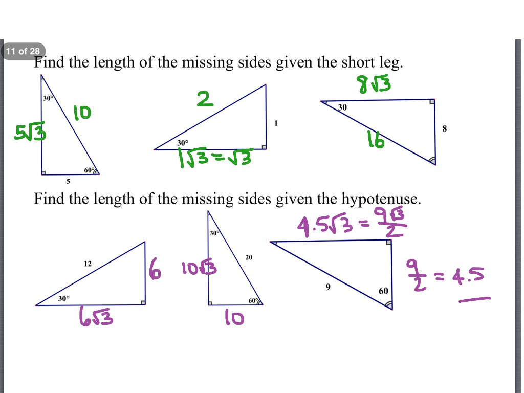 30 5 8 Special Right Triangles Worksheet