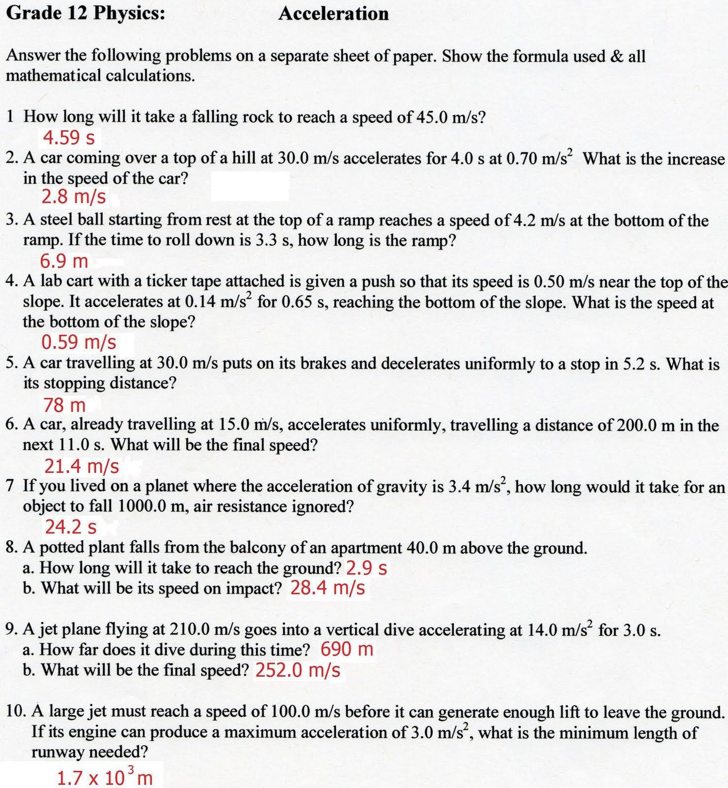 30 Acceleration Worksheet With Answers