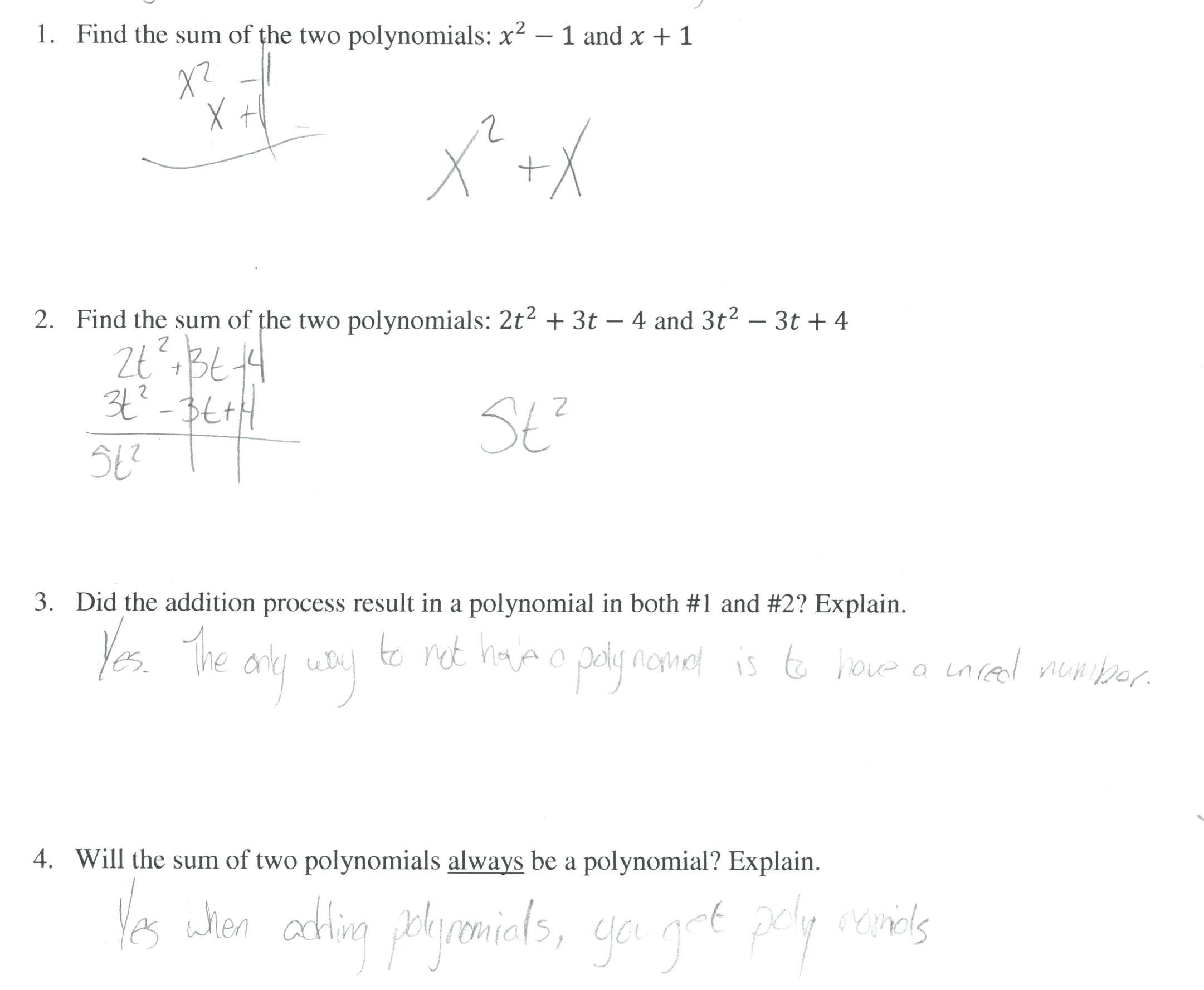30 Adding And Subtracting Polynomials Worksheet