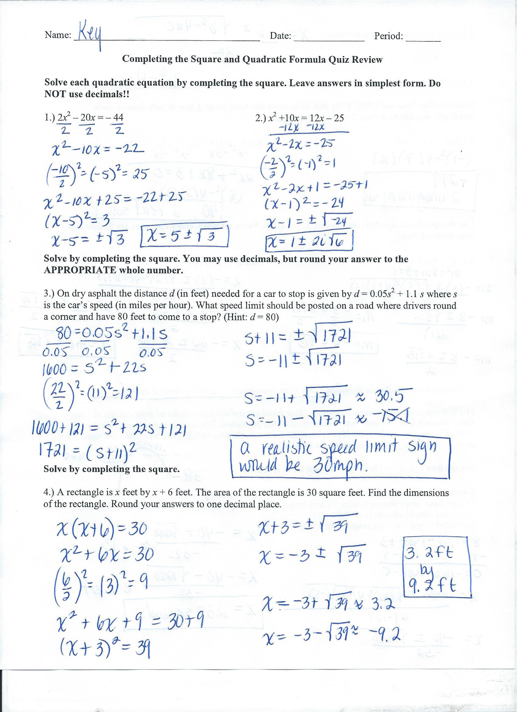 30 Algebra 1 Review Worksheet