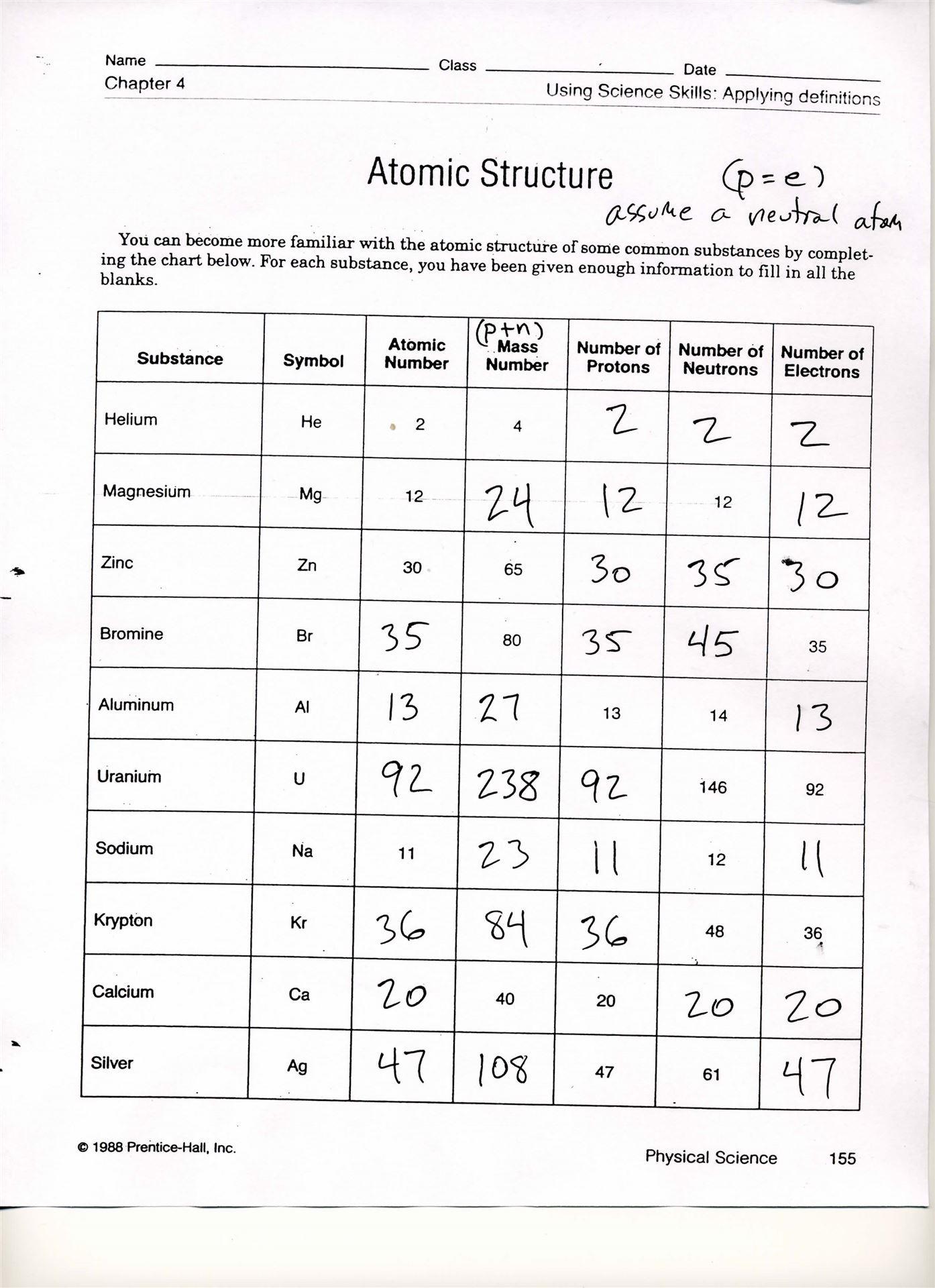 30 Atomic Structure Worksheet Answer Key