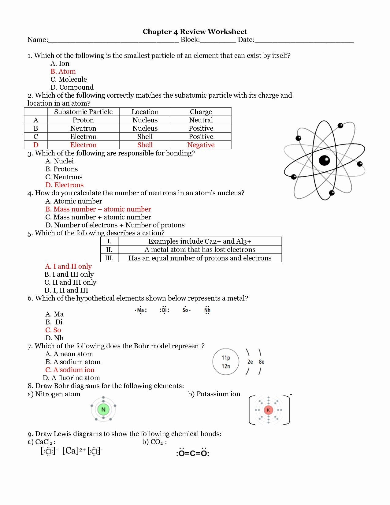 30 Atoms And Ions Worksheet Answers