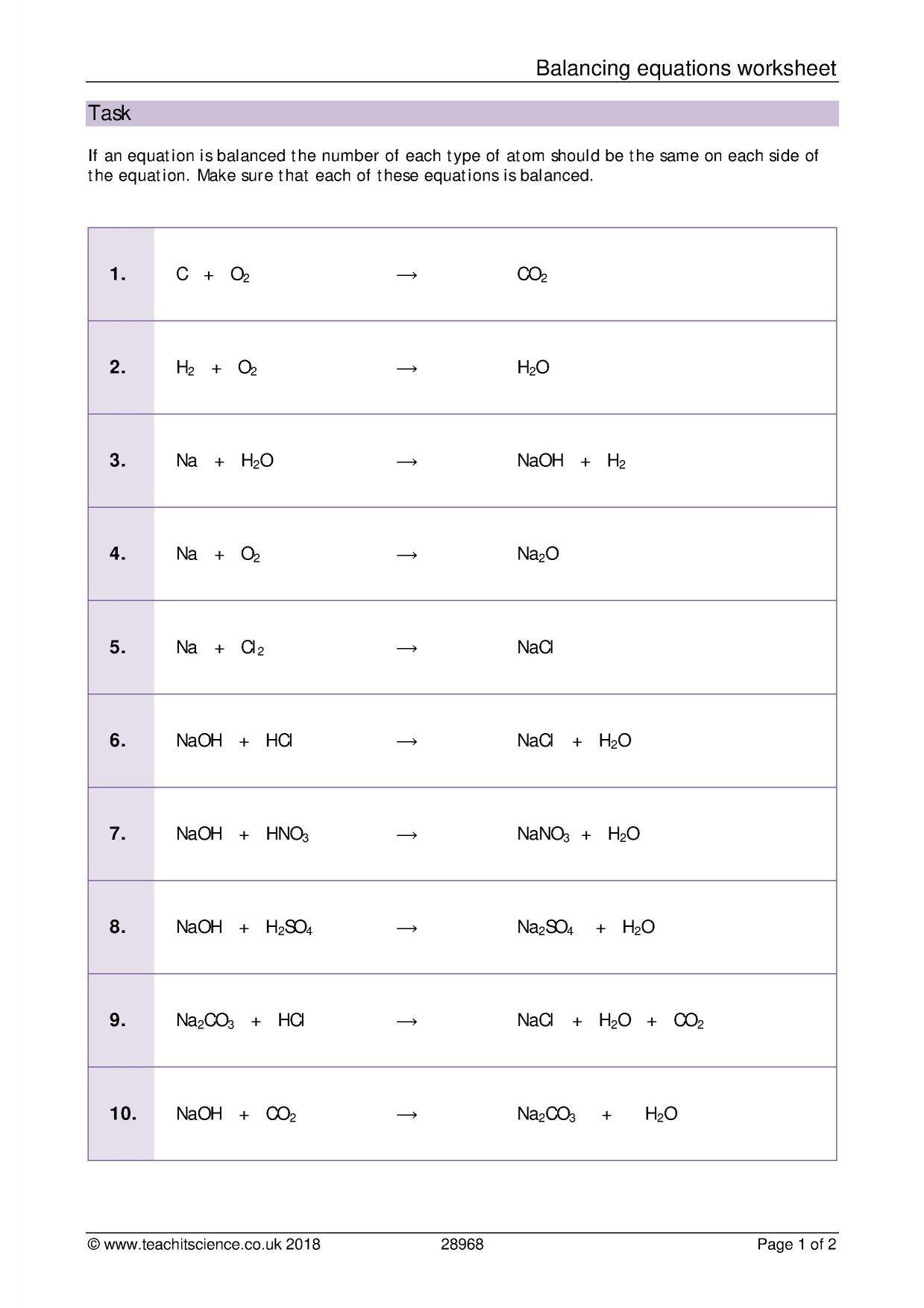 30 Balancing Equations Worksheet Answer Key