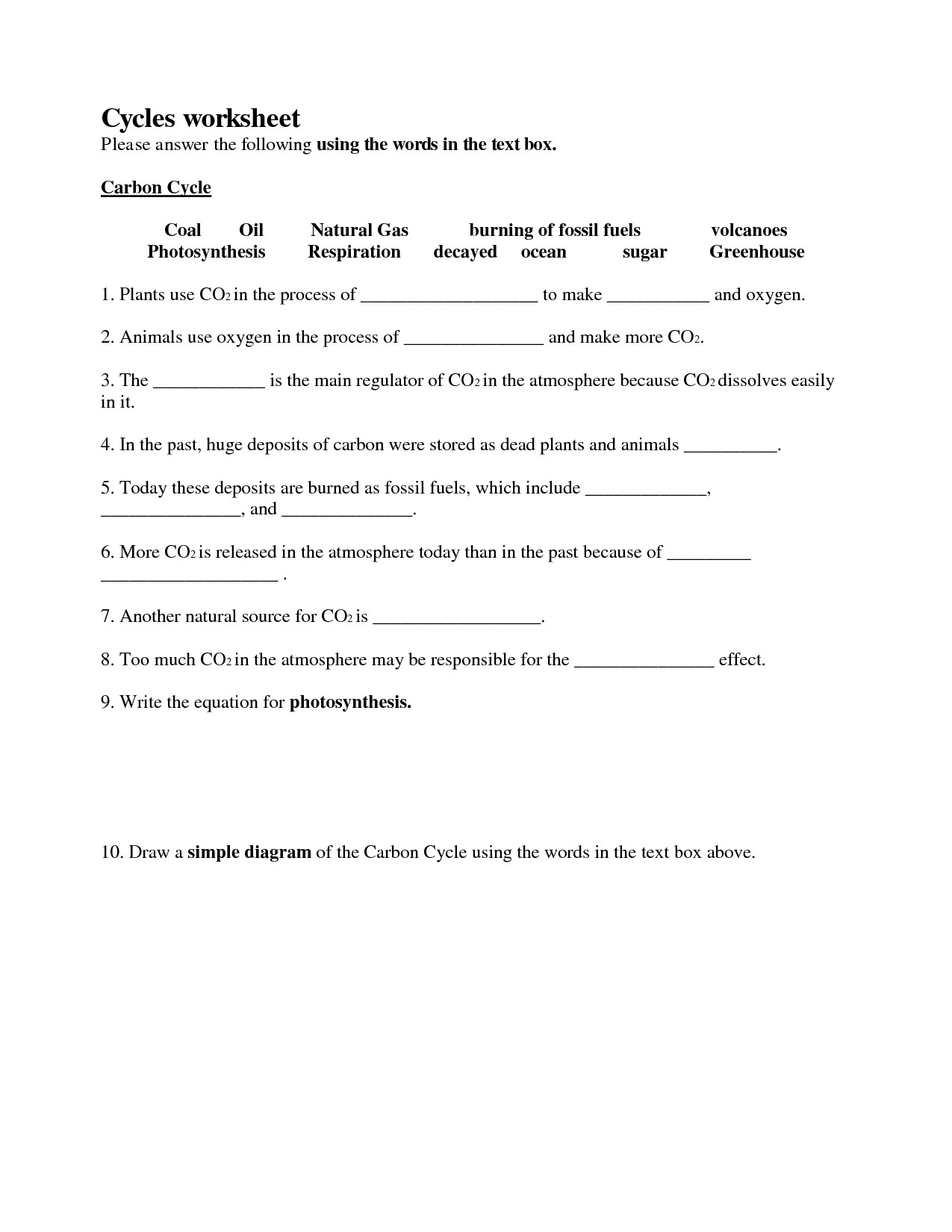 30 Biogeochemical Cycles Worksheet Answers