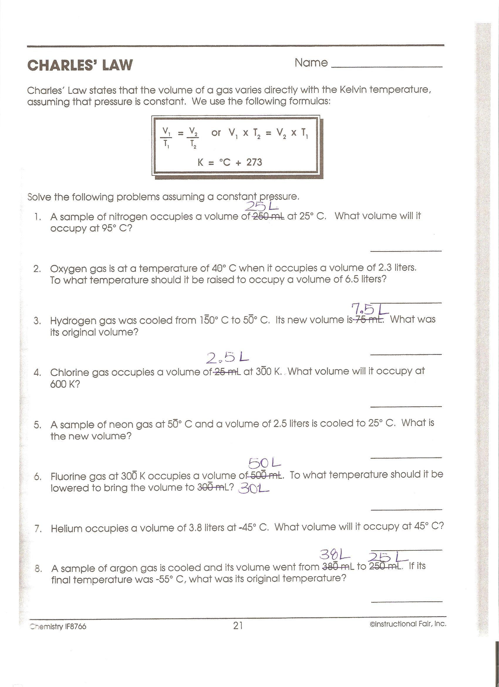30 Charles Law Worksheet Answers