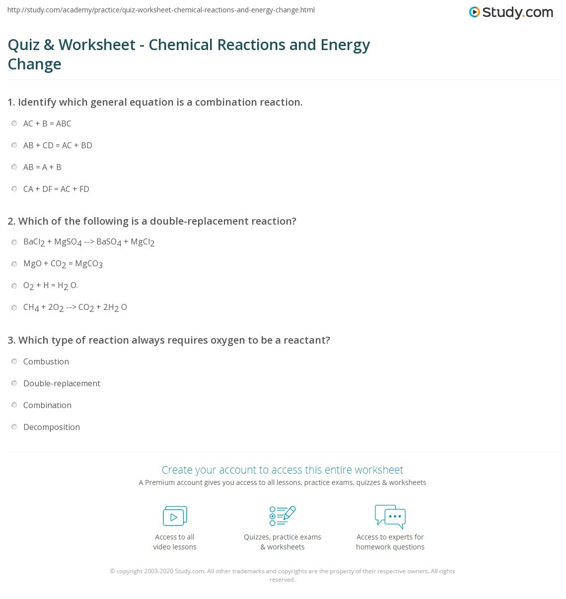 Classification Of Chemical Reactions Worksheet Education