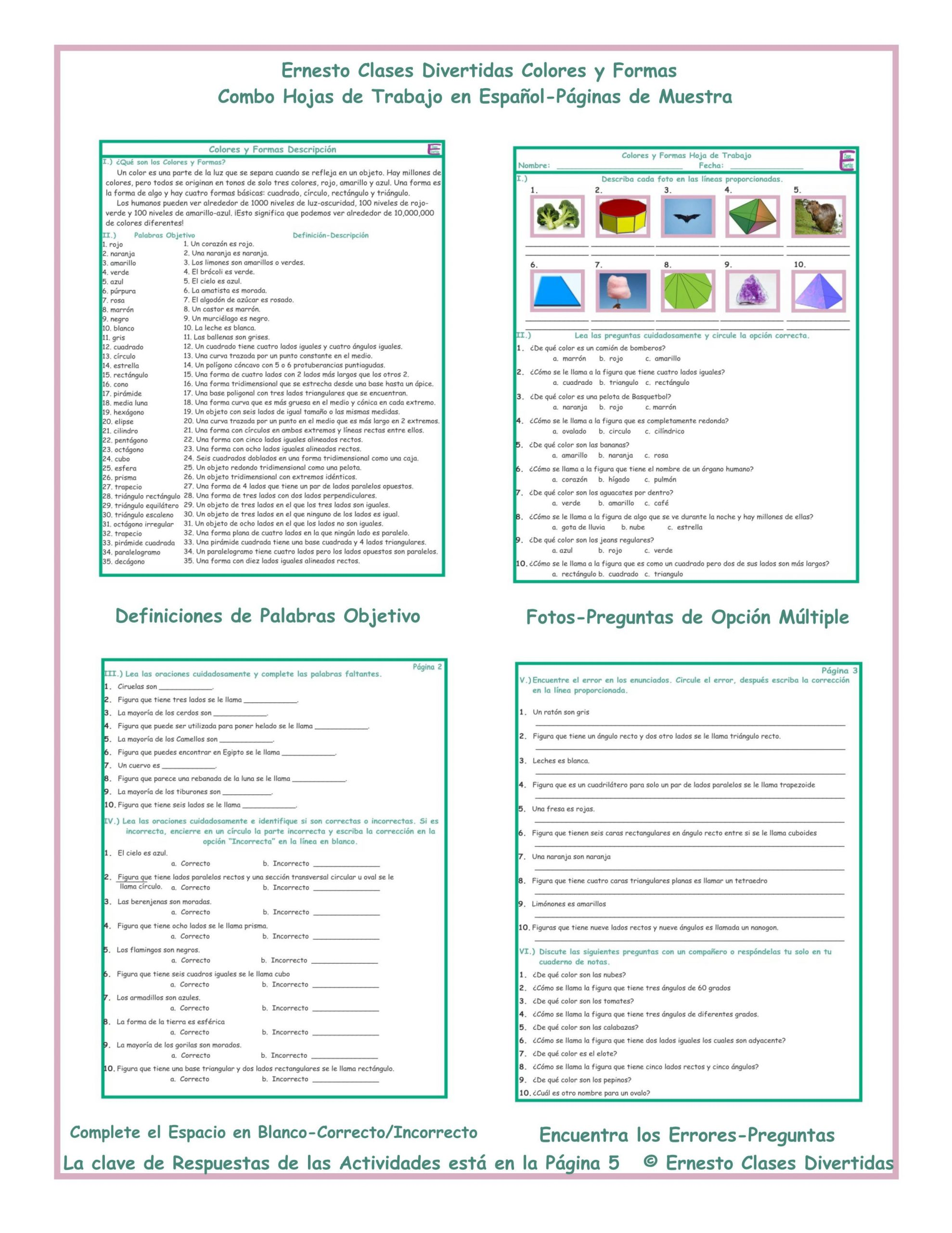 30 Colors In Spanish Worksheet