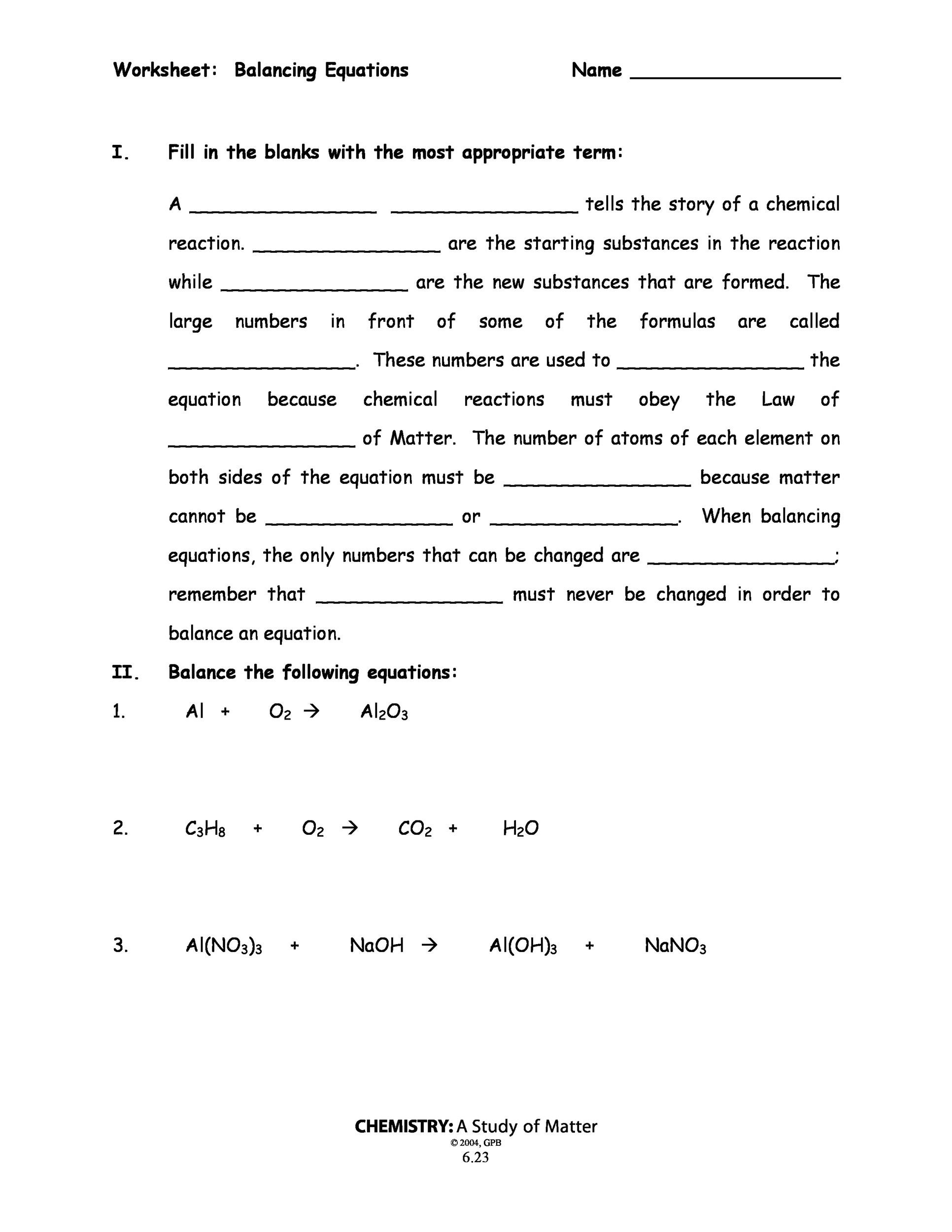 30 Conservation Of Mass Worksheet