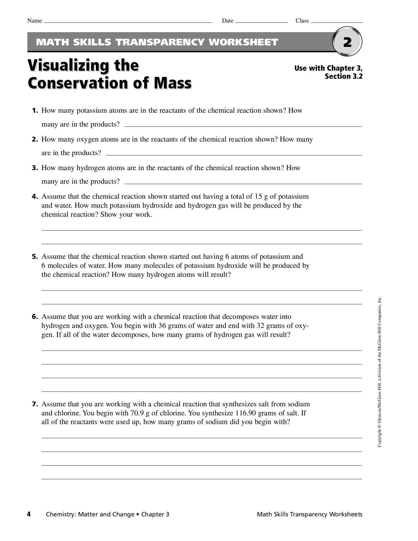30 Conservation Of Mass Worksheet