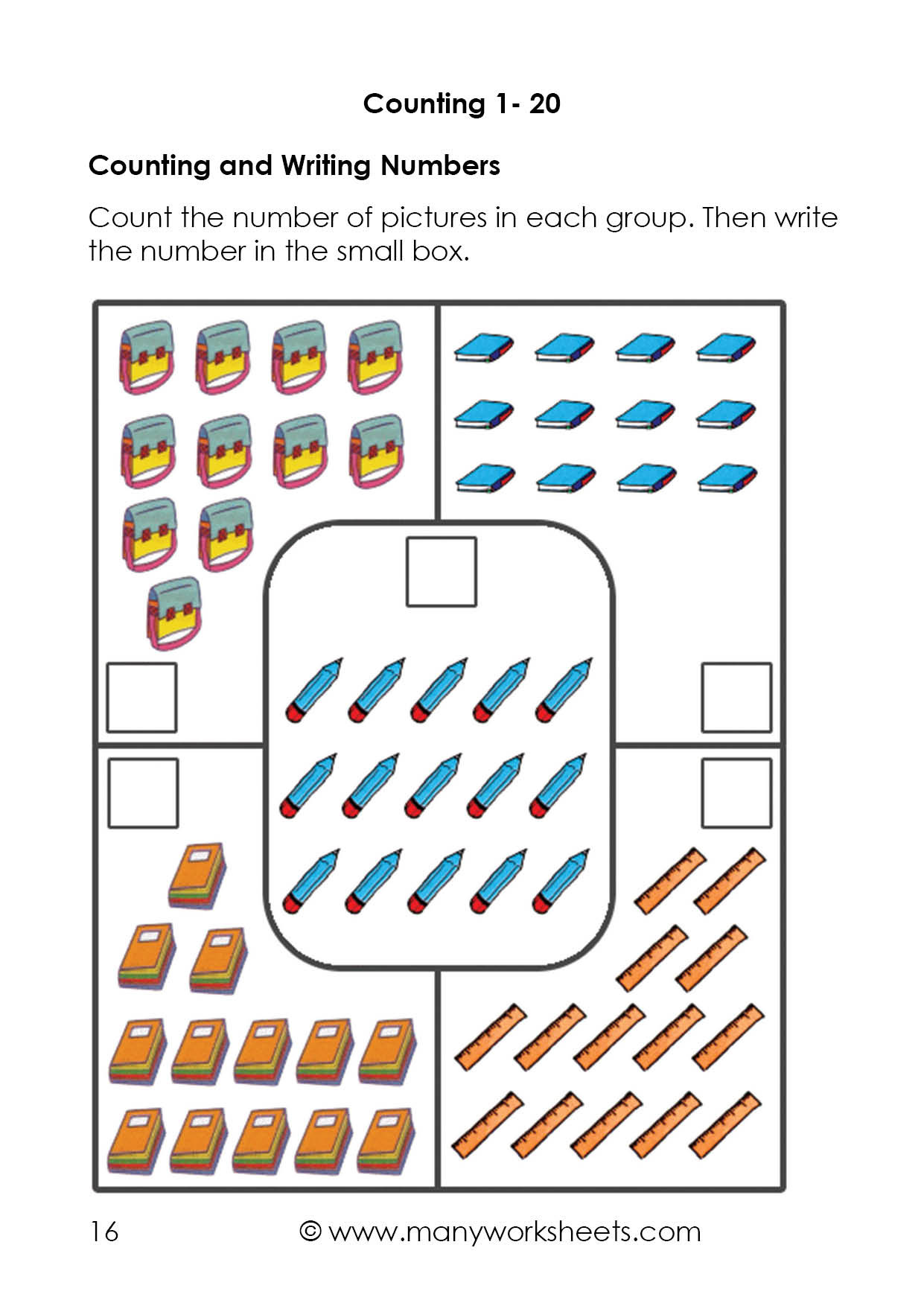 30 Counting To 20 Worksheet