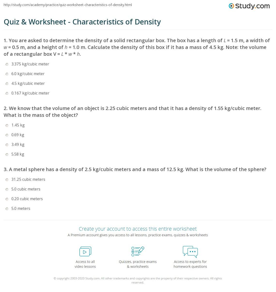 30 Density Worksheet Chemistry Answers