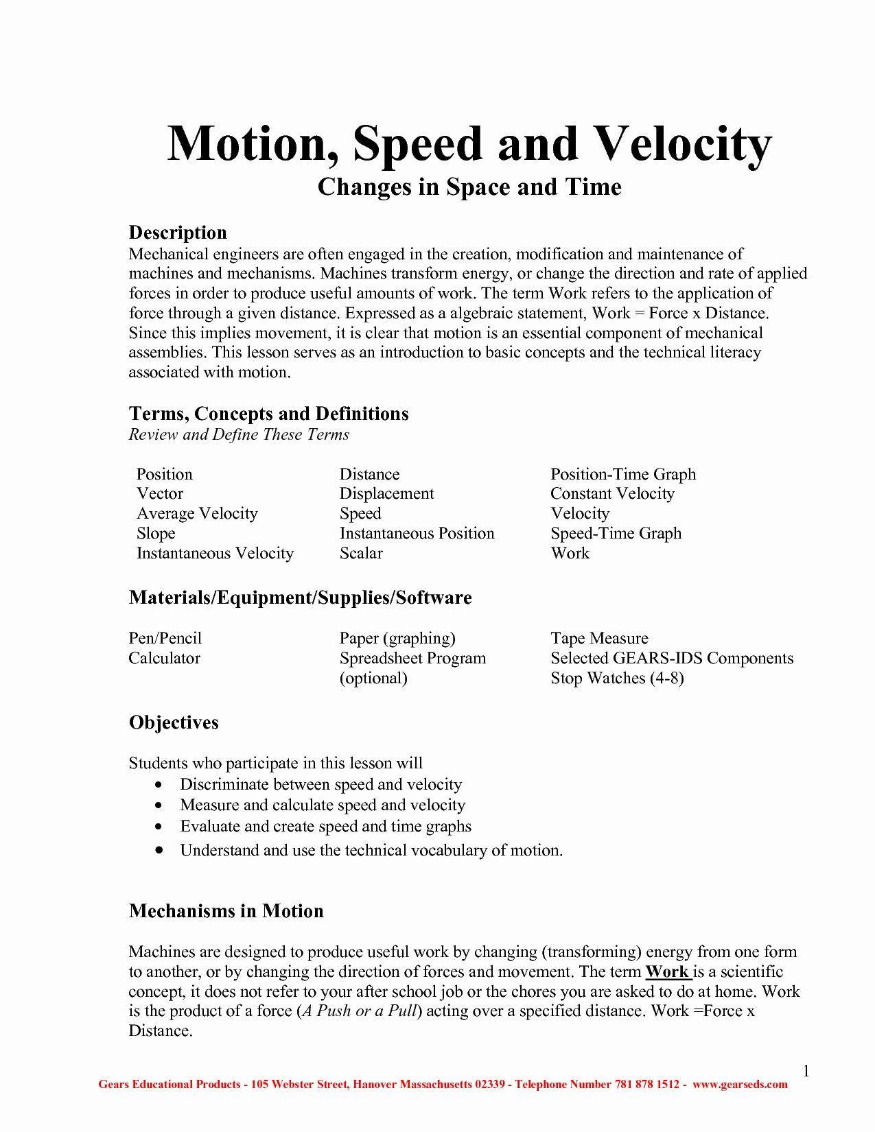 30 Determining Speed Velocity Worksheet