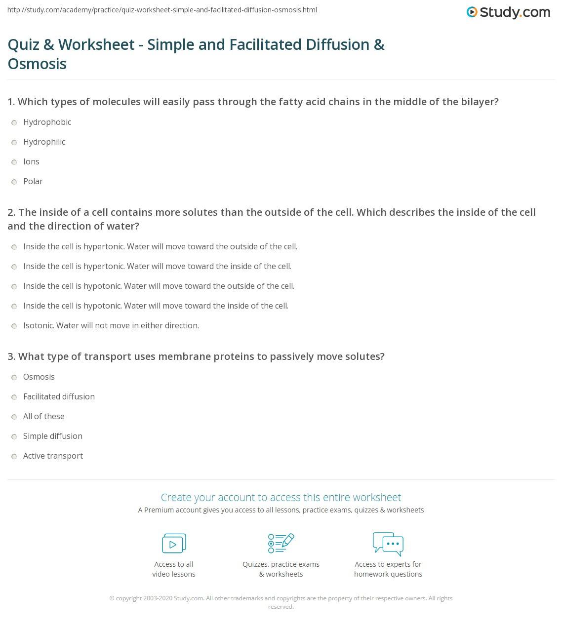 30 Diffusion And Osmosis Worksheet Answers