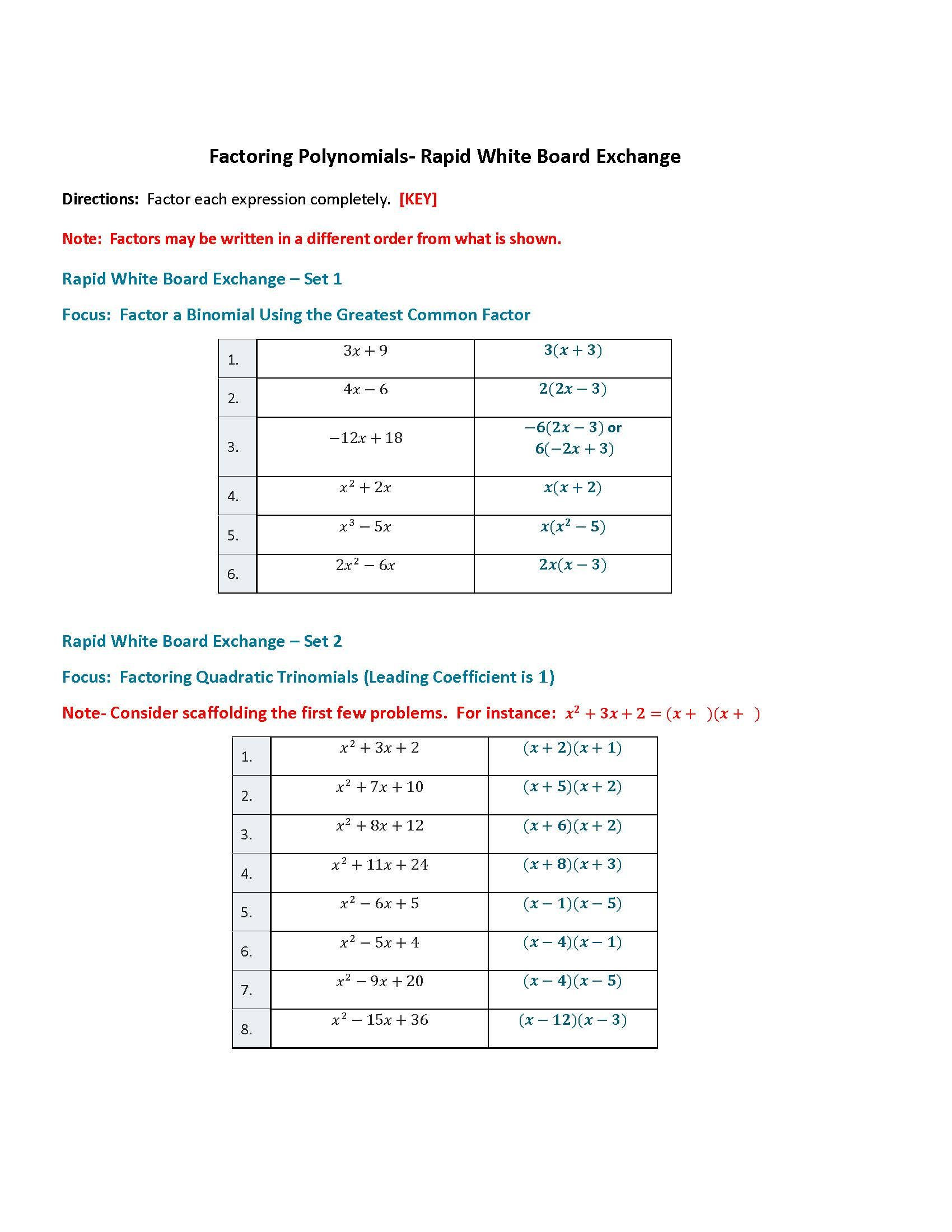 Factoring Polynomials By Grouping Worksheet Education