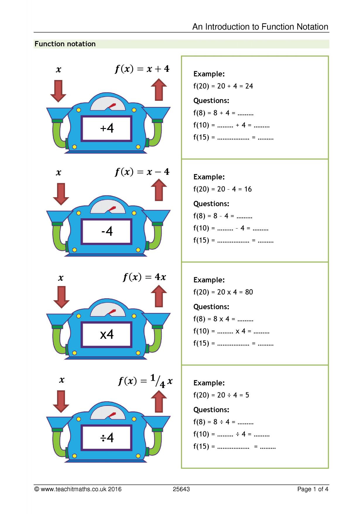 30 Function Notation Worksheet Answers