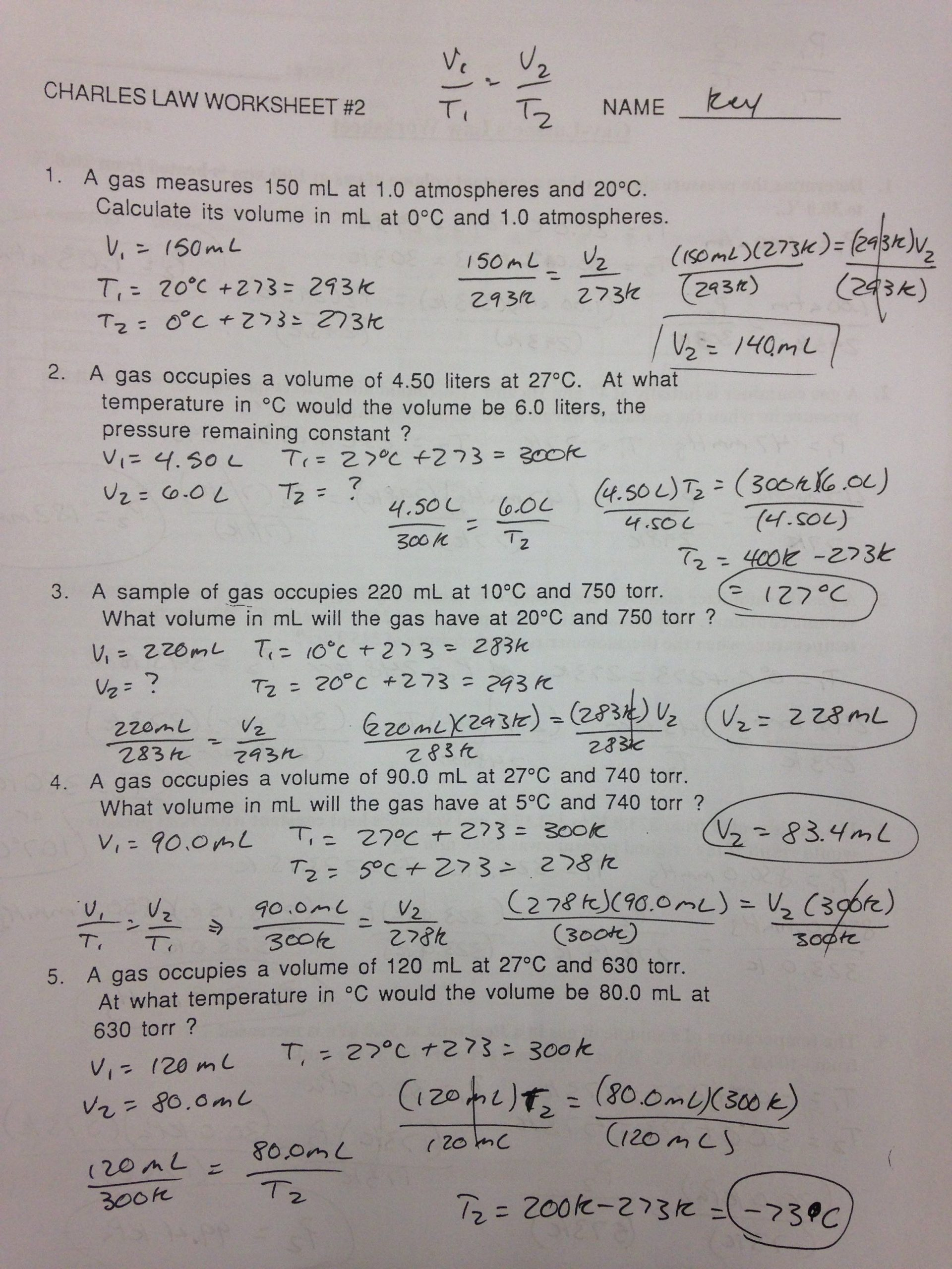 31 Gas Variables Worksheet Answers