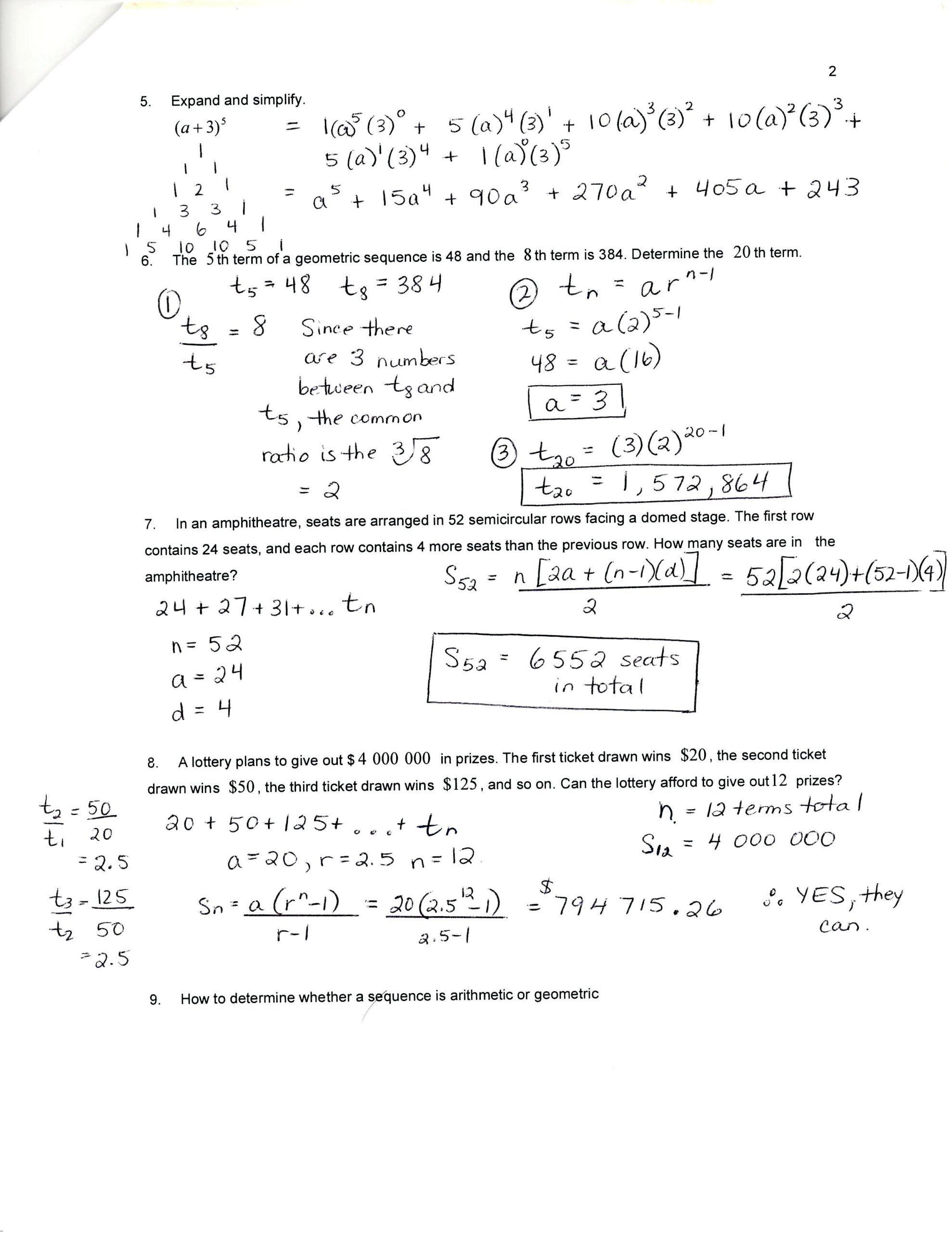 30 Geometric Sequence And Series Worksheet