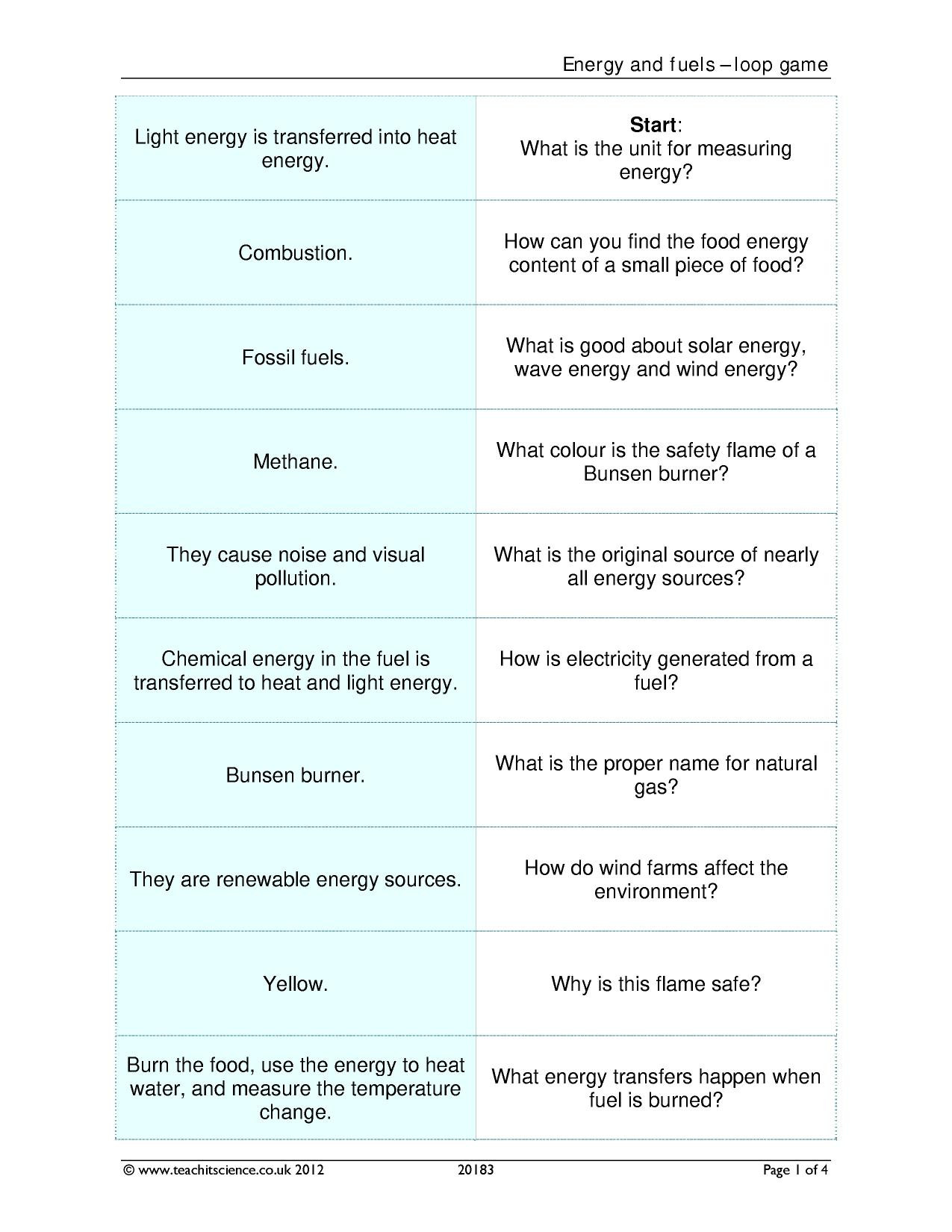 30 Introduction To Energy Worksheet Answers
