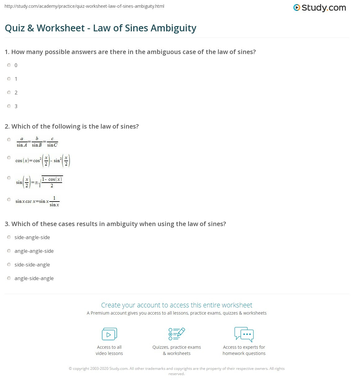 Law Of Sines Worksheet Answers Education Template
