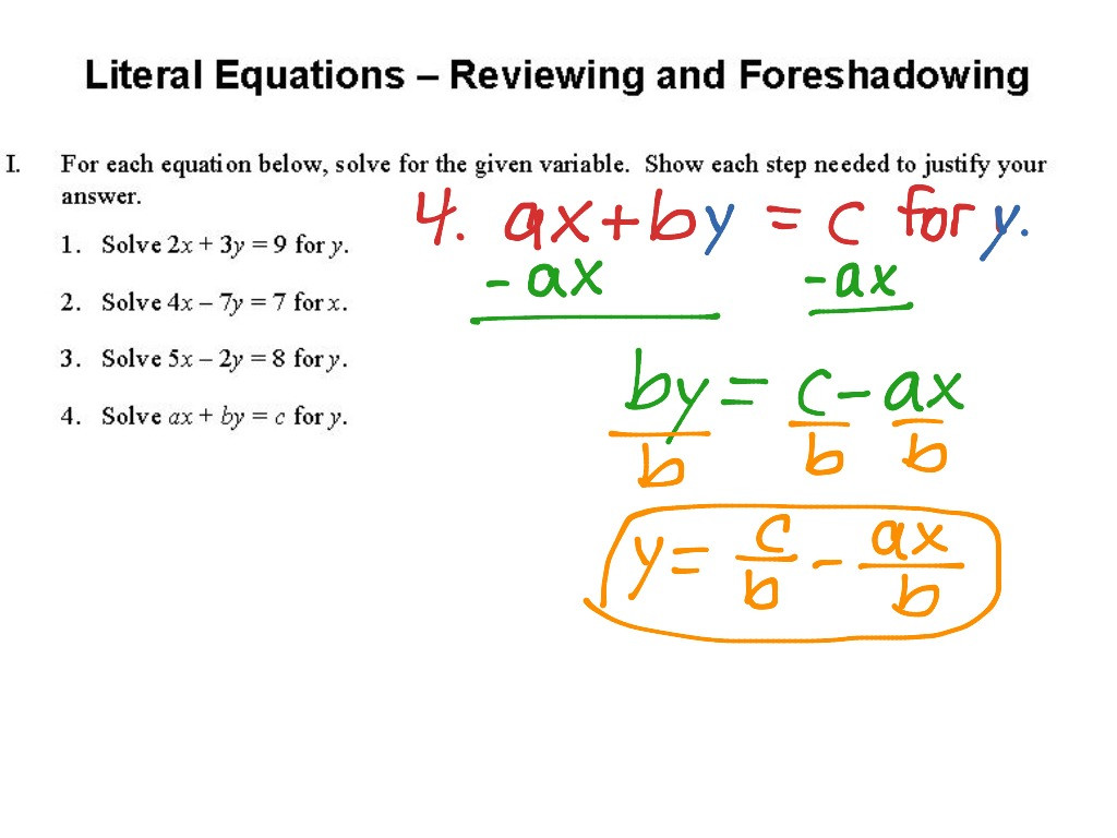 Literal Equations Worksheet Answers