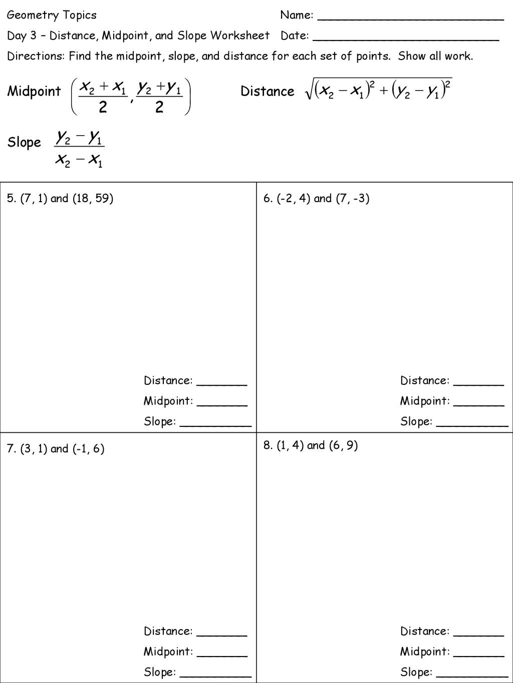 30 Midpoint And Distance Formula Worksheet