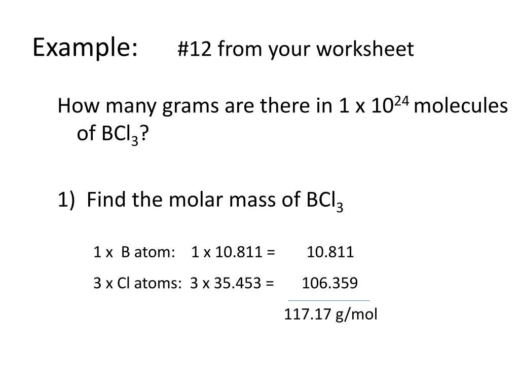 30 Moles Molecules And Grams Worksheet