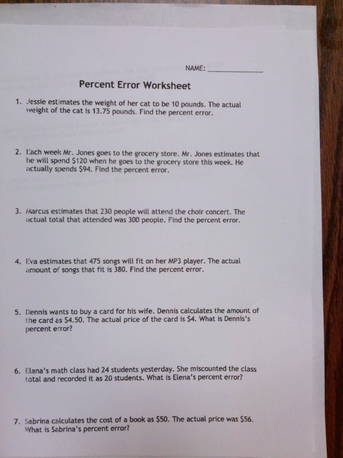31 Percent Error Worksheet Answer Key