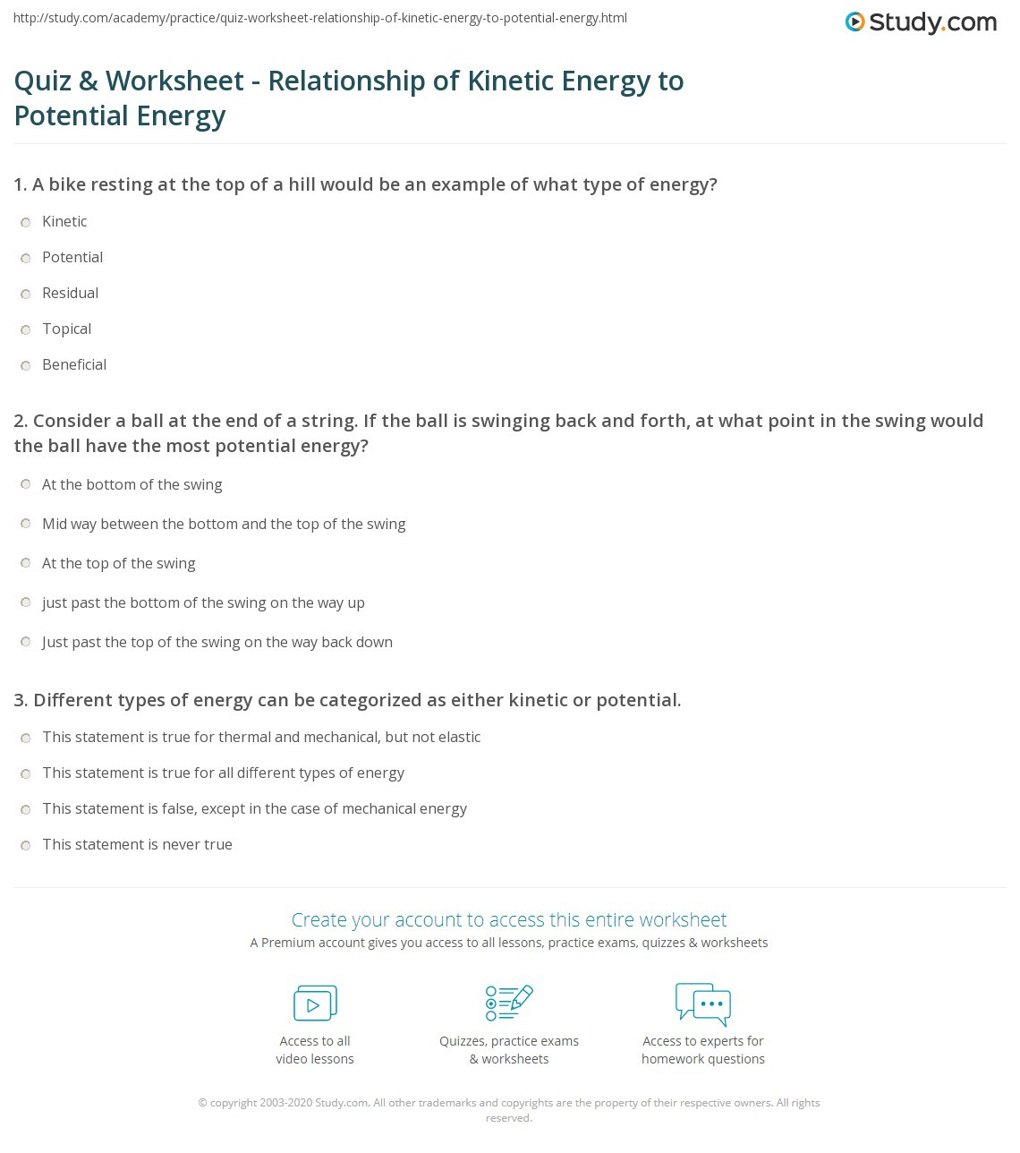30 Potential Vs Kinetic Energy Worksheet