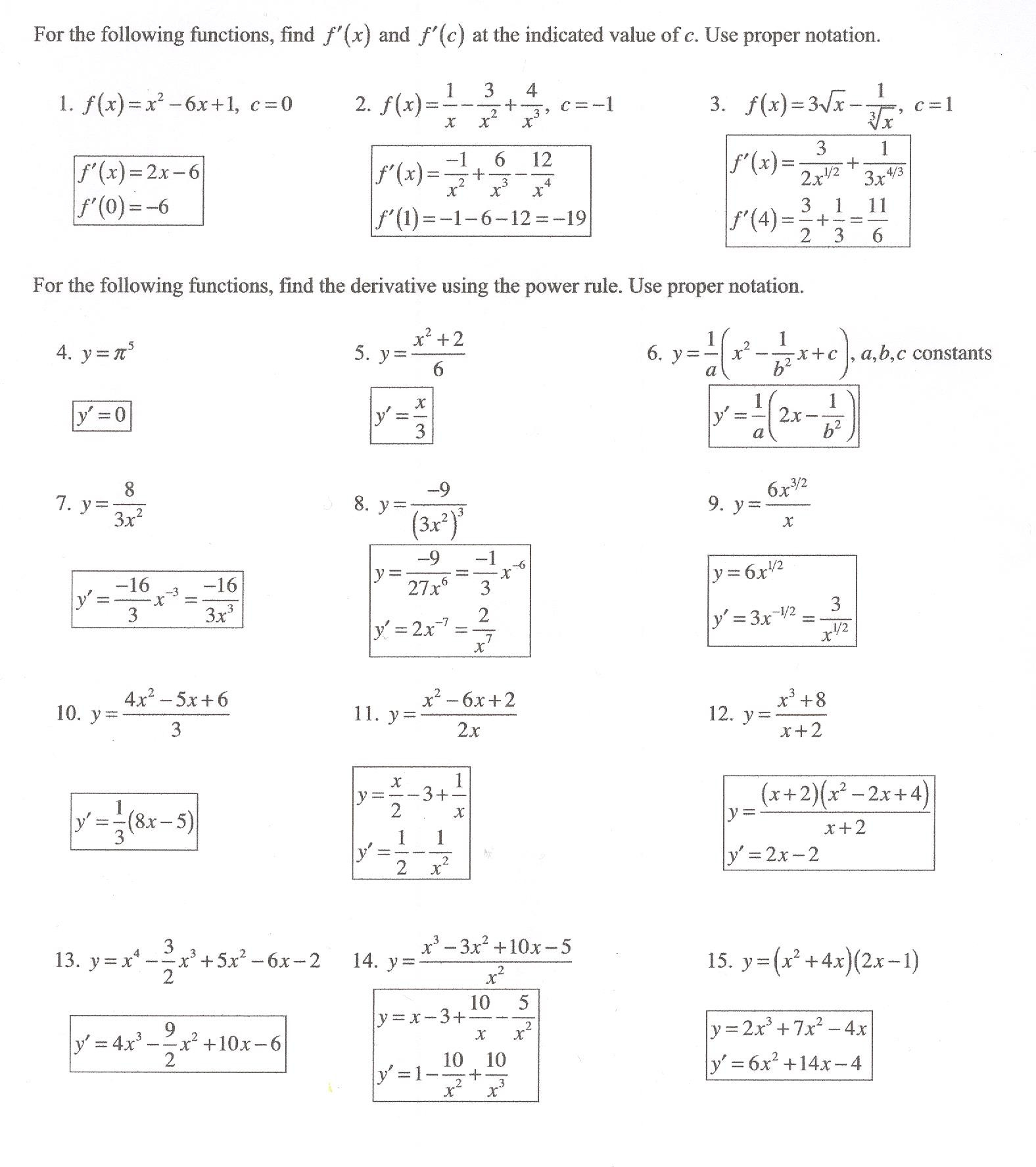 Product And Quotient Rule Worksheet