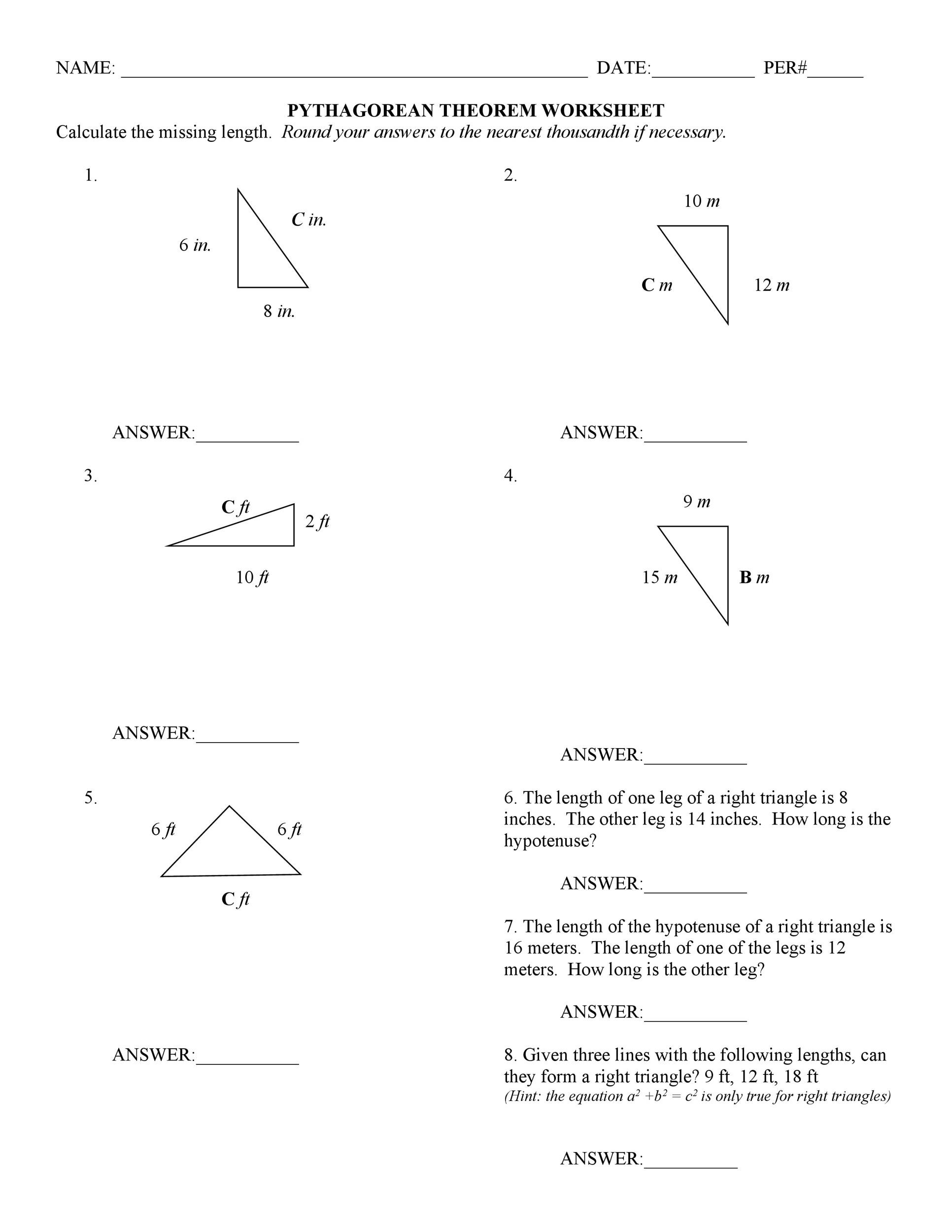 30 Pythagorean Theorem Word Problems Worksheet
