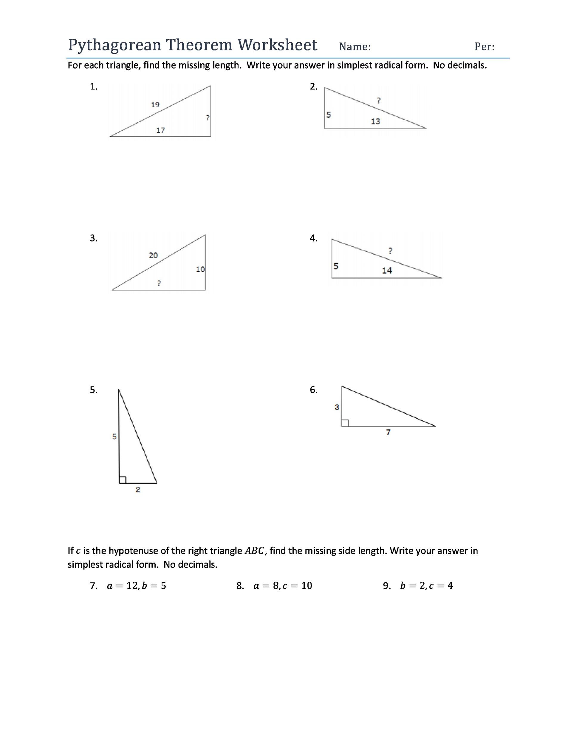 30 Pythagorean Theorem Worksheet Answers