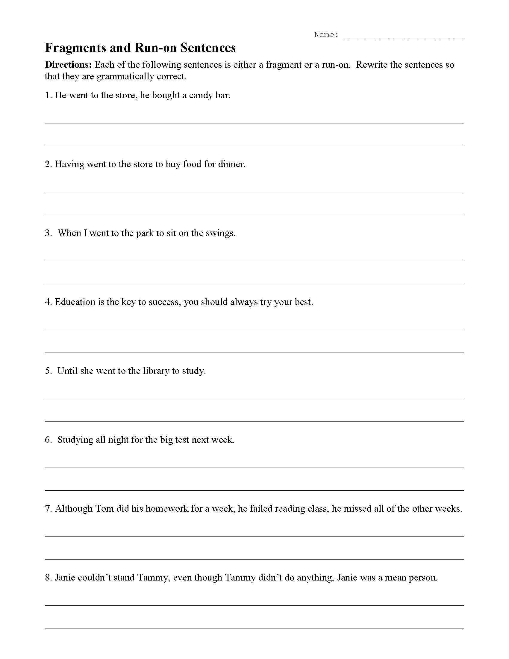 30 Run On Sentence Worksheet
