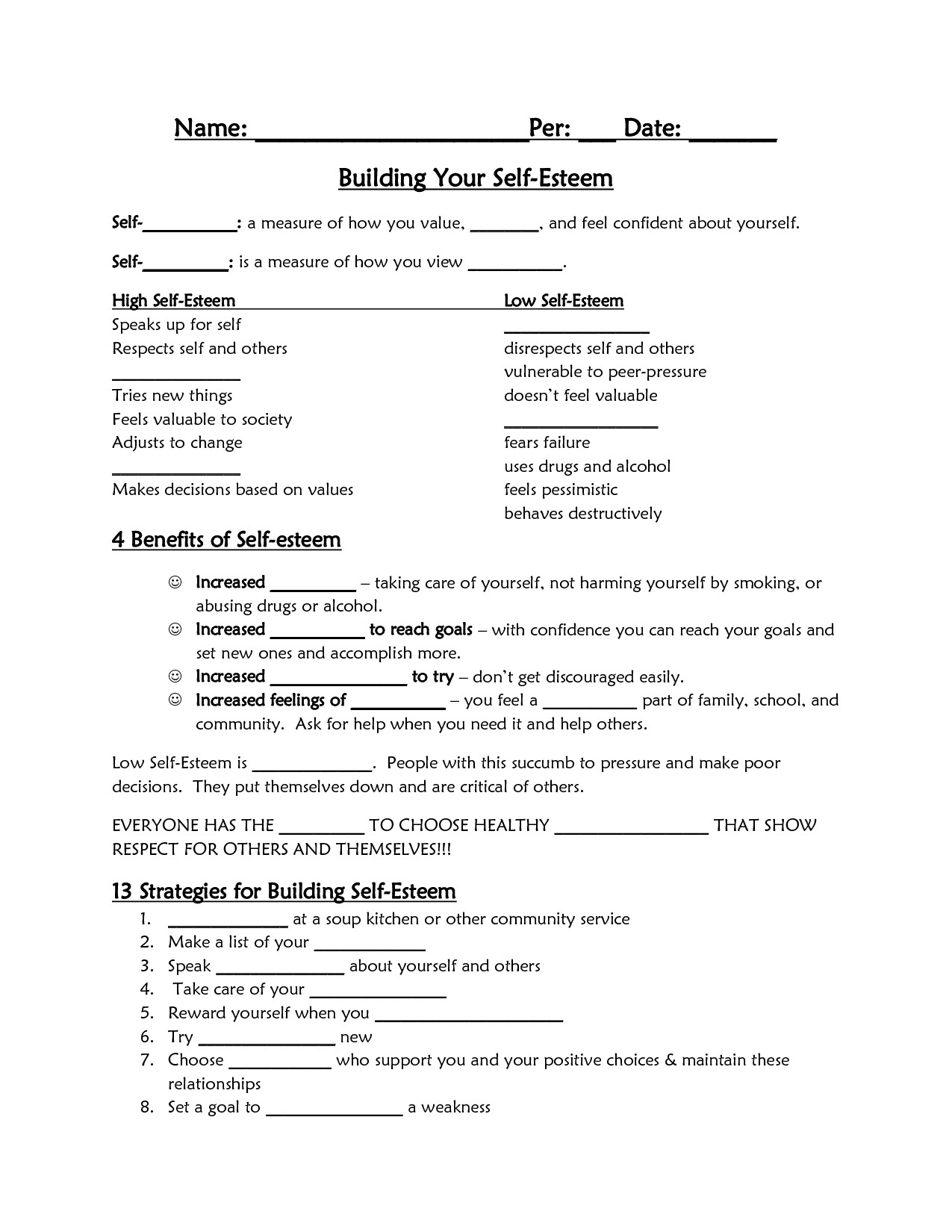 30 Self Esteem Worksheet For Teens