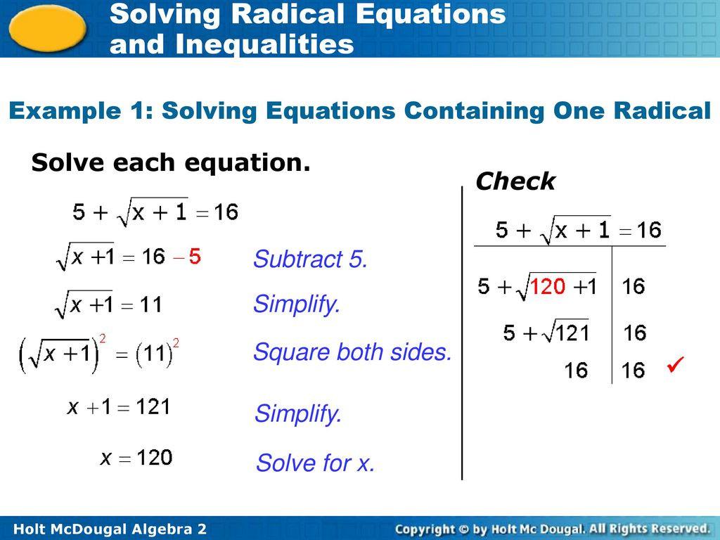 31 Solving Radical Equations Worksheet