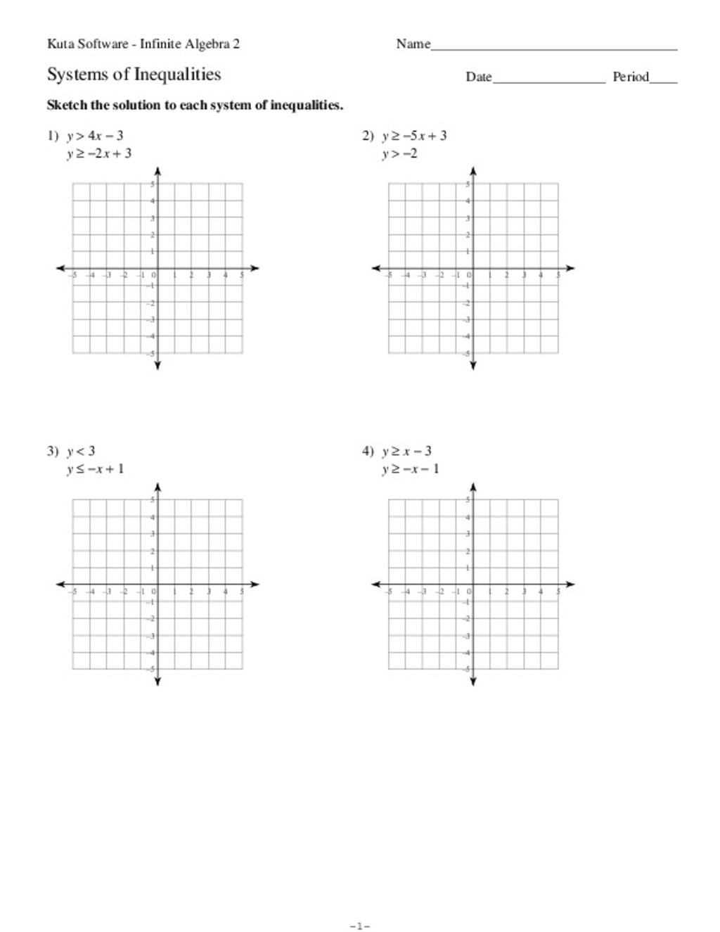 30 Solving Systems Of Inequalities Worksheet