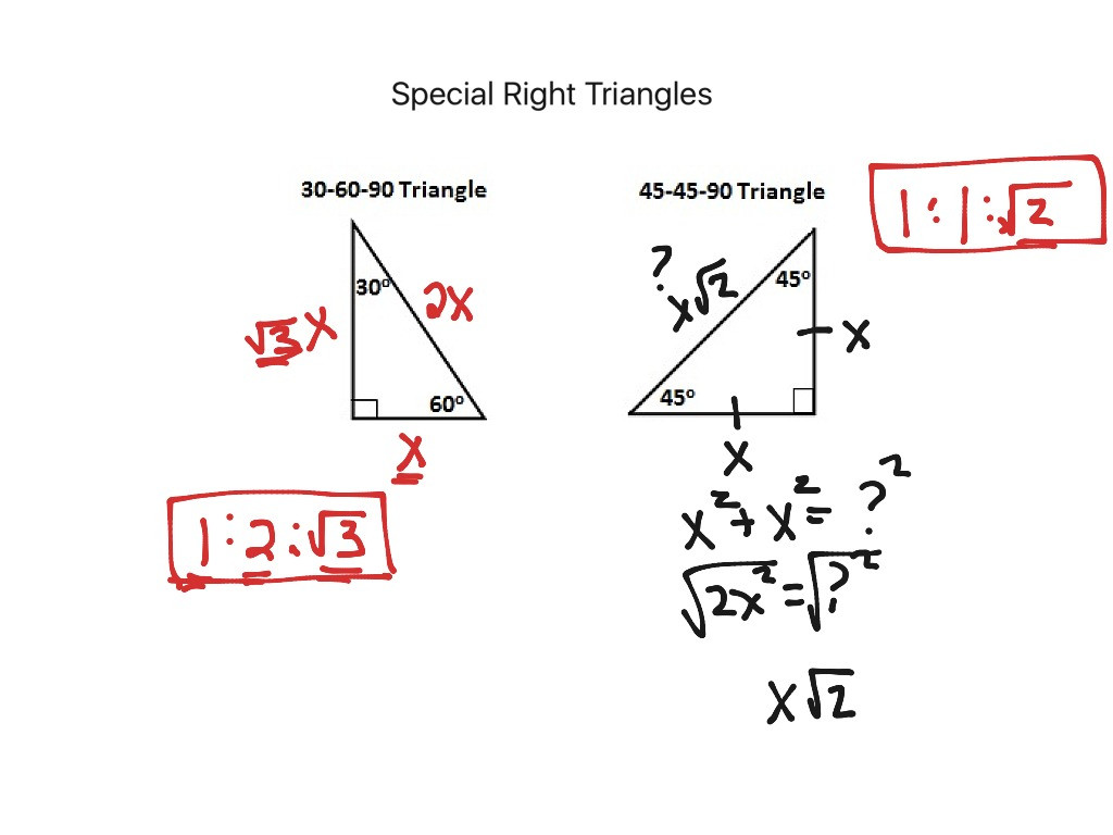 30 Special Right Triangles Worksheet